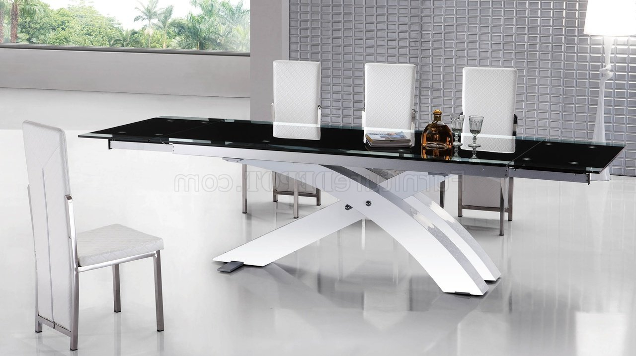 8420Dt Dining Table W/black Glass Topesf Inside Most Recently Released Modern Glass Top Extension Dining Tables In Matte Black (View 3 of 30)