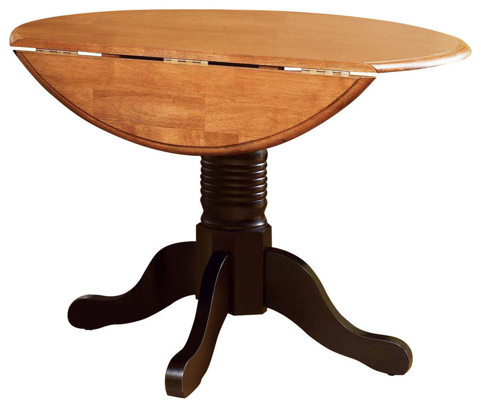 A America British Isles Round Drop Leaf Dining Table, Espresso Within Latest Alamo Transitional 4 Seating Double Drop Leaf Round Casual Dining Tables (View 12 of 19)