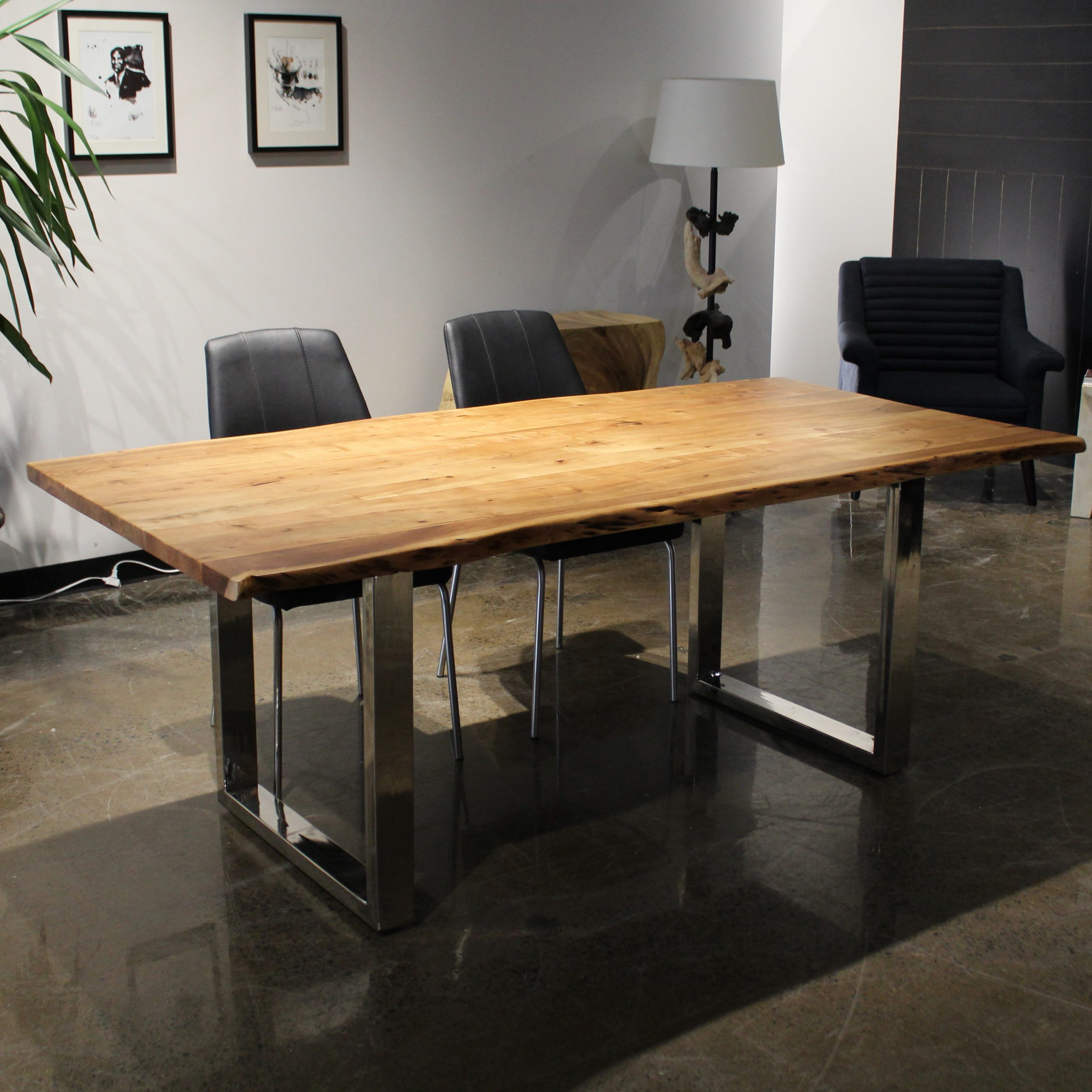 """Acacia Dining Tables With Black Rocket Legs Within 2018 Corcoran Acacia Live Edge Dining Table With Black Rocket Legs – 72"""" (View 7 of 30)"""