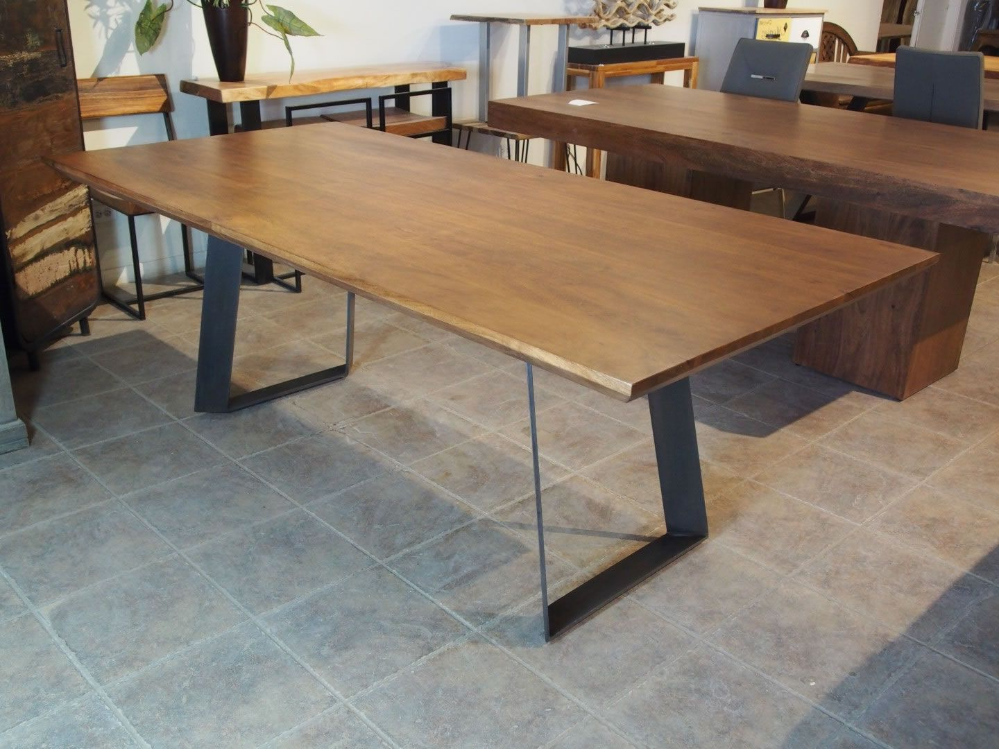 Acacia Dining Tables With Black X Leg In 2018 Zen Beveled Edge Acacia Table (Black Metal Victor Legs (View 14 of 30)