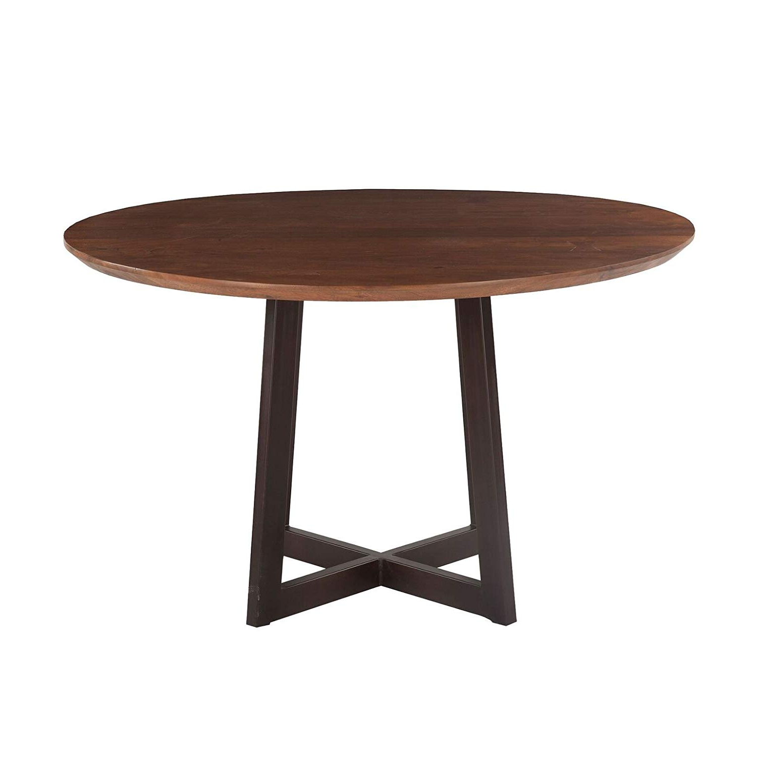 Acacia Dining Tables With Black X Legs Within Best And Newest Amazon – World Interiors Acacia Wood And Iron Round (View 11 of 30)