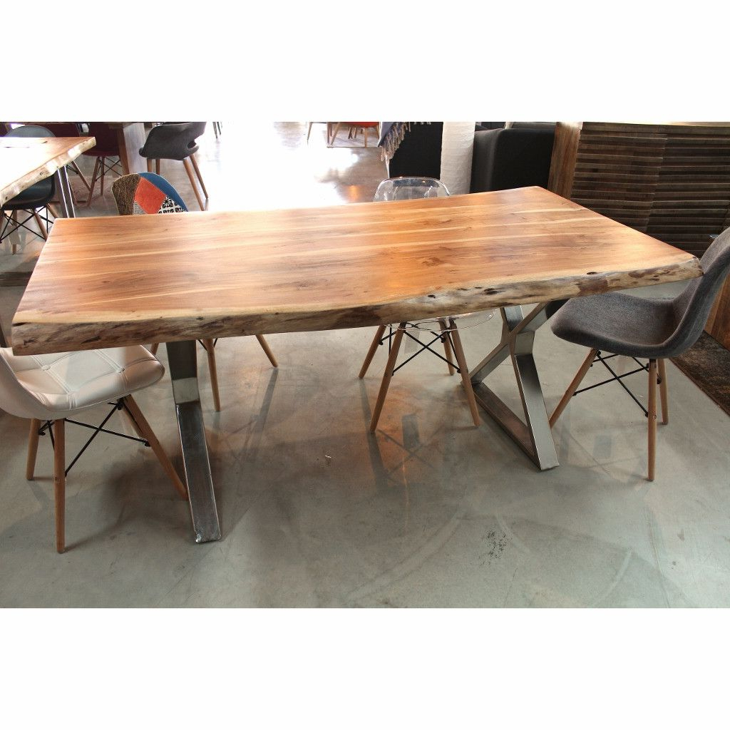 Acacia Live Edge Wood Table With Crossed Chrome Legs – Wazo With Regard To Famous Acacia Top Dining Tables With Metal Legs (View 3 of 30)