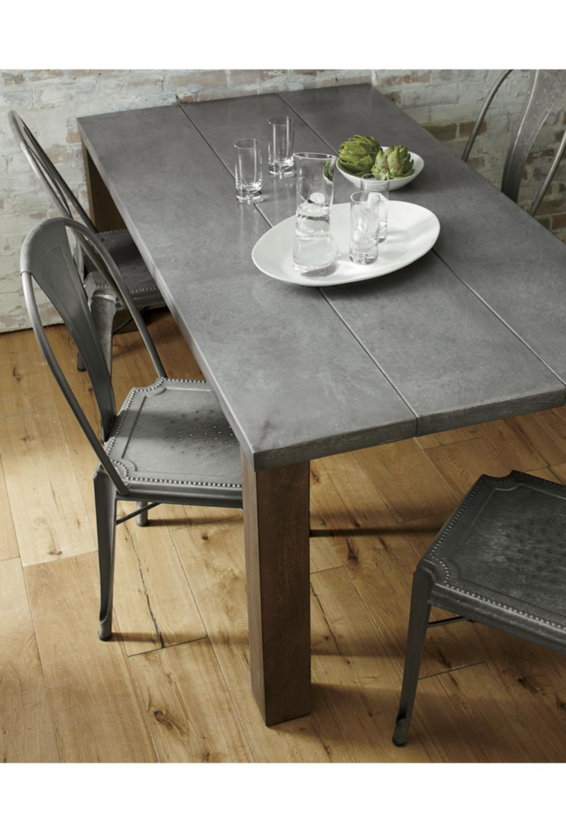 "Acacia Wood Dining Tables With Sheet Metal Base In 2018 Galvin 48"" Metal Top Dining Table In (View 30 of 30)"
