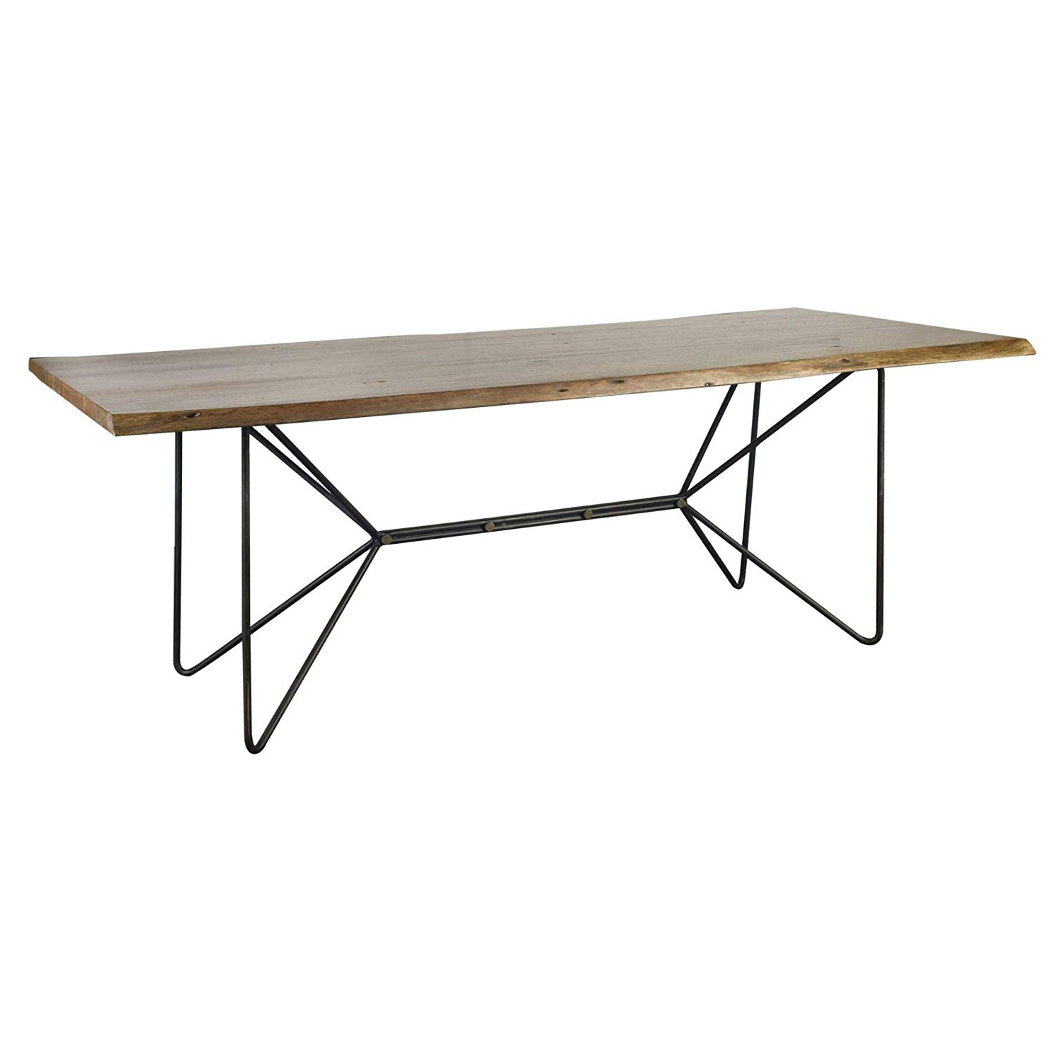 "Acacia Wood Dining Tables With Sheet Metal Base Pertaining To Most Up To Date Amazon: Mercana 67623 Ab Dining Table, 84"" X 38"" X (View 24 of 30)"