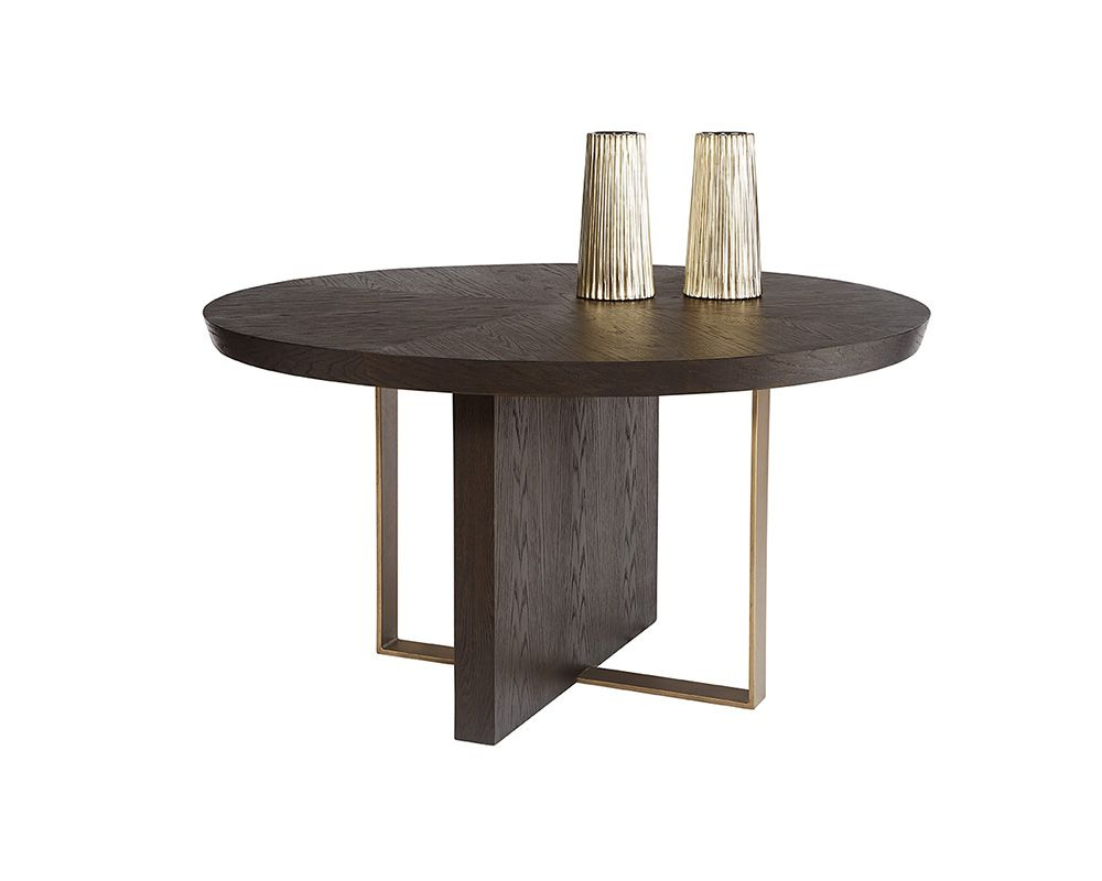 "Acacia Wood Dining Tables With Sheet Metal Base Throughout 2017 Lars Dining Table – Round – 55"" (View 28 of 30)"