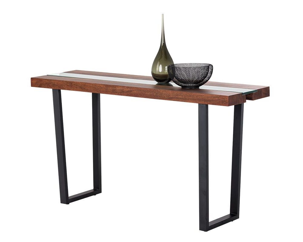 Acacia Wood Top Dining Tables With Iron Legs On Raw Metal For Most Up To Date Albany Console Table (View 29 of 30)