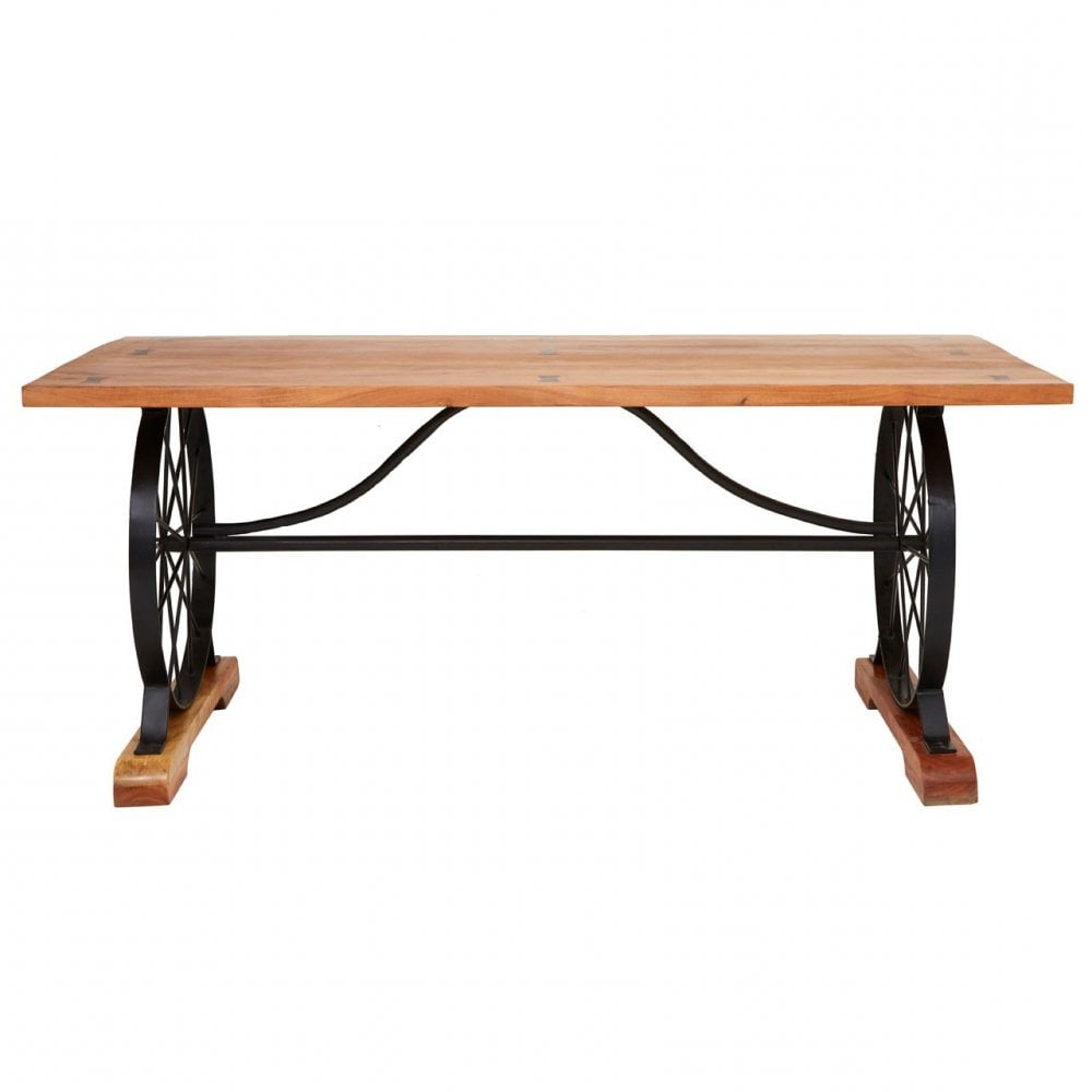 Featured Photo of Acacia Wood Top Dining Tables With Iron Legs On Raw Metal