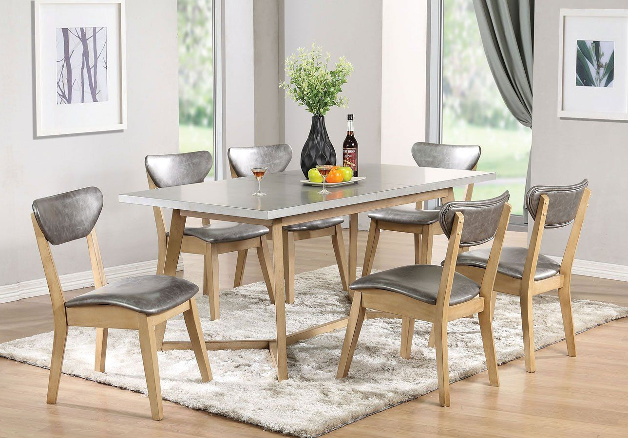 Acme Rosetta 72010 5 Piece Dining Set In Silver Pu & White Regarding Well Known Faux Marble Finish Metal Contemporary Dining Tables (View 1 of 30)