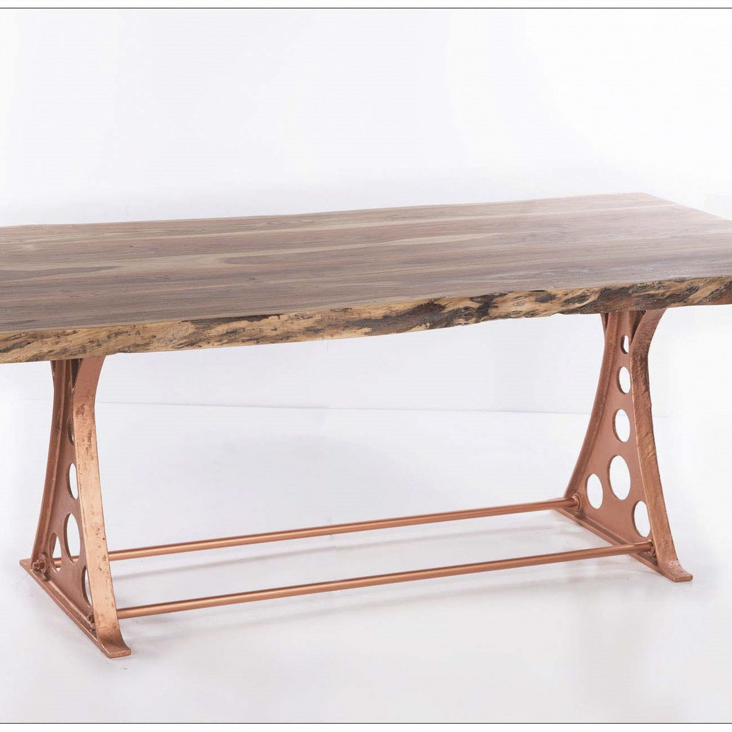 Adjustable Copper Cast Iron Dining Table With Starburst For Widely Used Iron Dining Tables With Mango Wood (View 6 of 30)