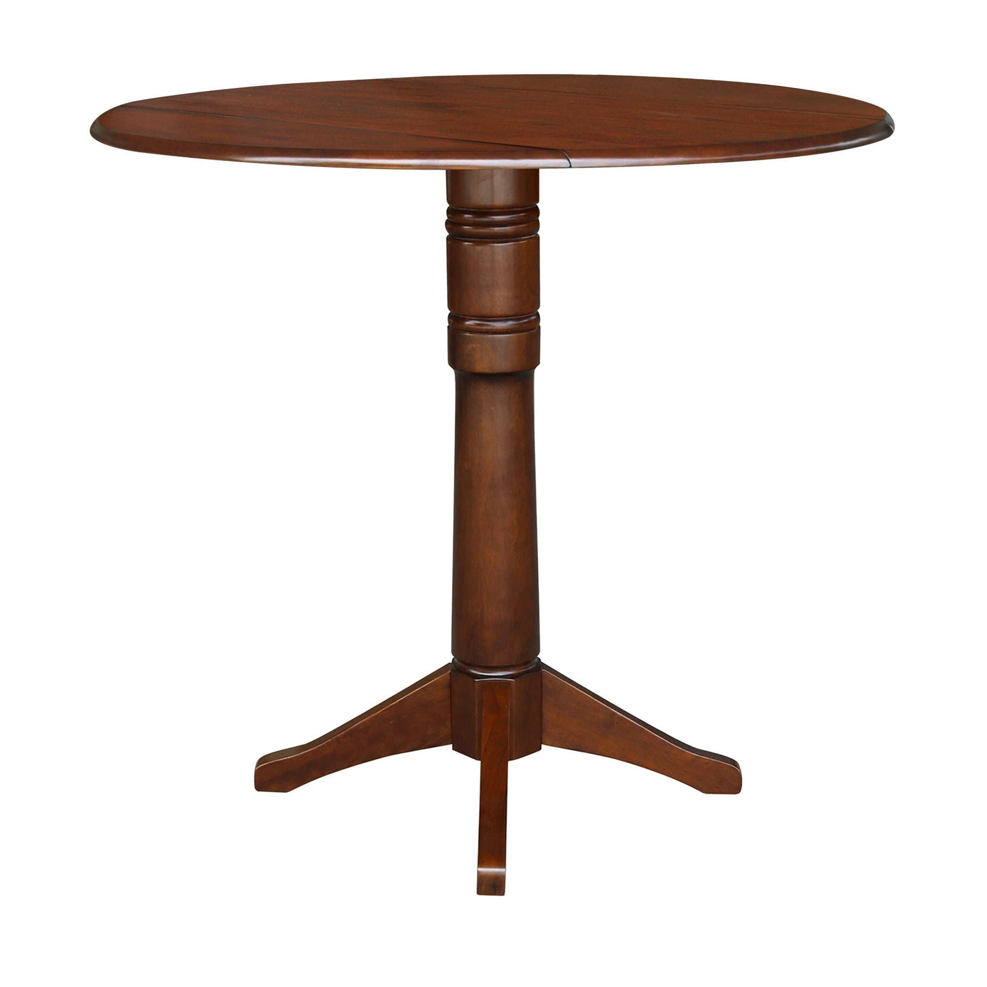 Alamo Transitional 4 Seating Double Drop Leaf Round Casual Dining Tables For Well Known International Concepts Espresso Wood 42 Inch Round Dual Drop Leaf Table (View 14 of 19)