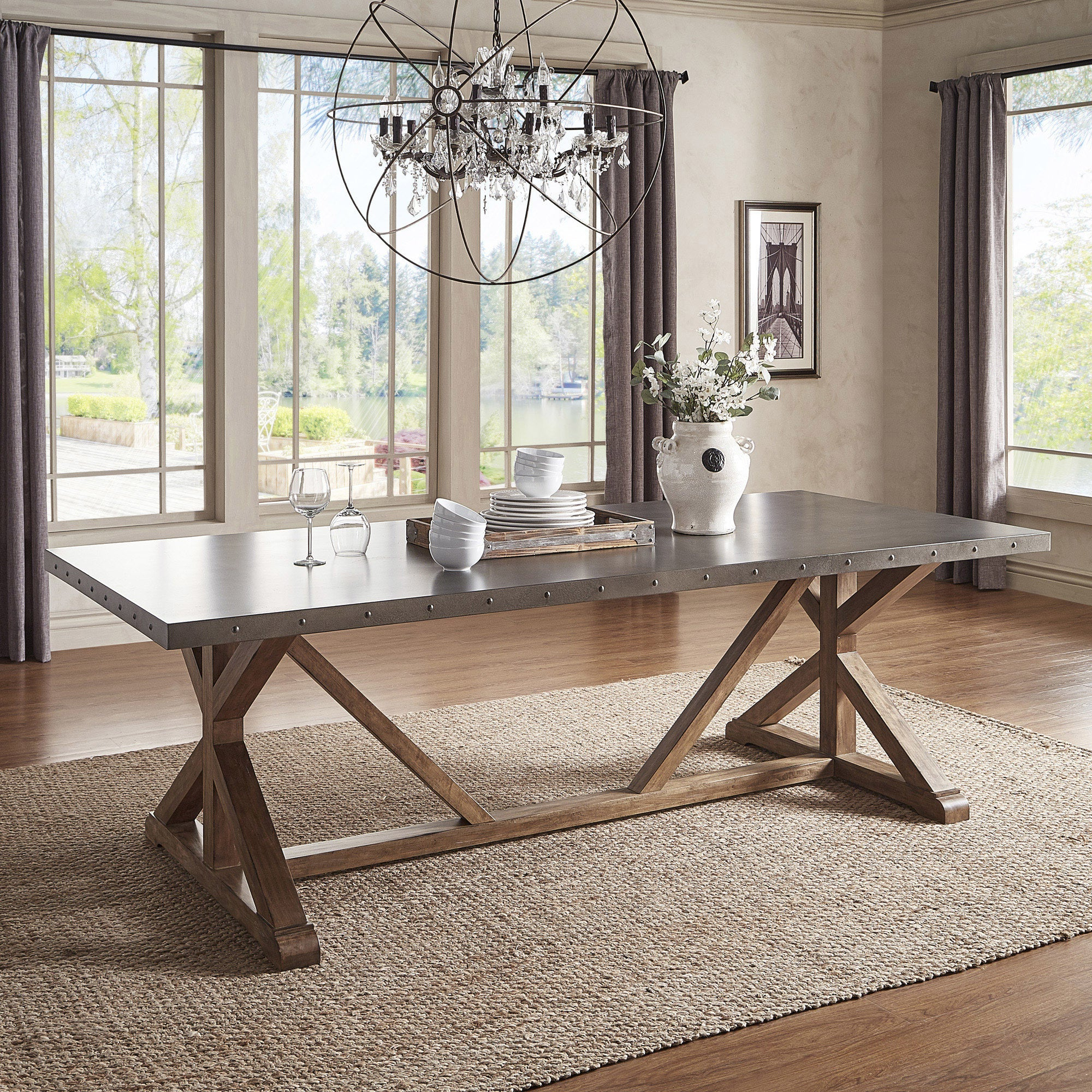 Albee Rectangular Stainless Steel Top Dining Table With Poplar X Base Inspire Q Artisan – Grey Intended For Most Popular Wood Top Dining Tables (View 12 of 30)