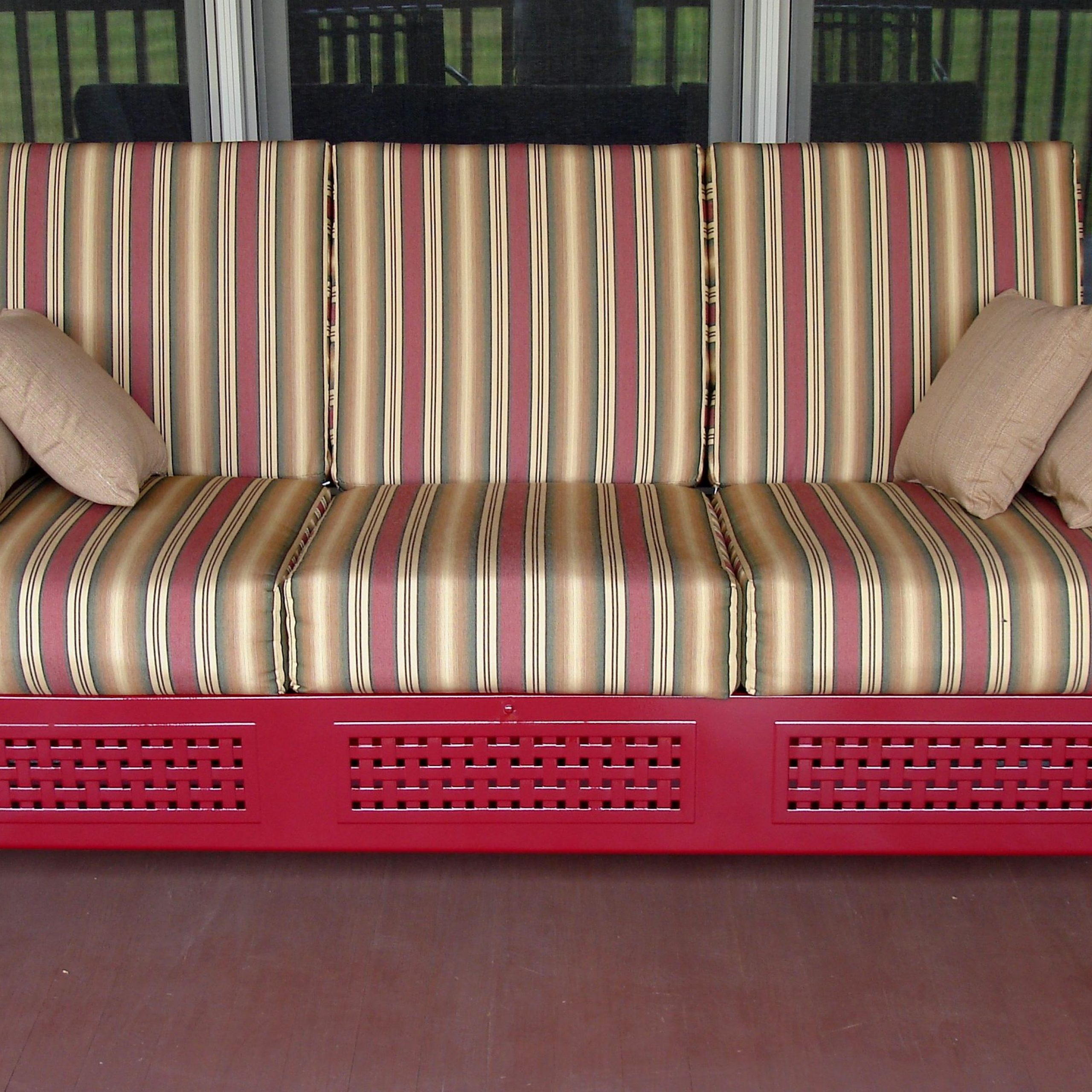 Aluminum Glider Benches With Cushion For Well Liked Furniture: Vintage Aluminum Porch Glider With Cushions For (View 12 of 30)