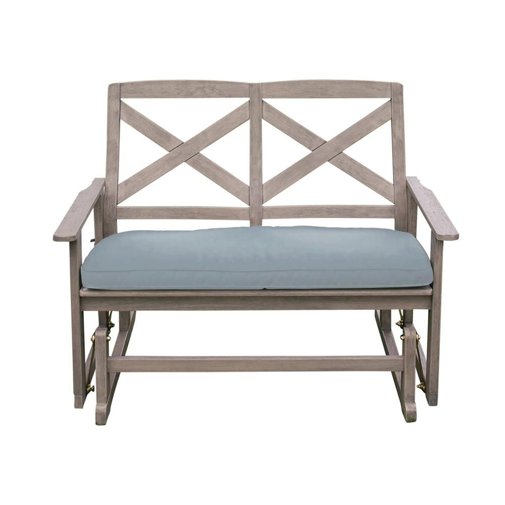 Aluminum Glider Benches With Cushion Throughout Well Known Cambridge Casual Tulle Wood Outdoor Glider Bench With Blue (View 4 of 30)
