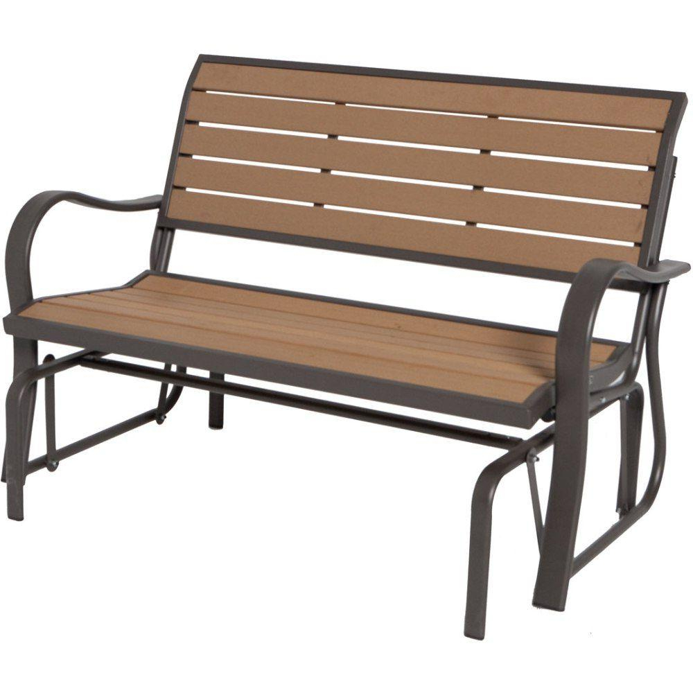 Aluminum Outdoor Double Glider Benches For Fashionable Wood Alternative Patio Glider Bench (View 3 of 30)