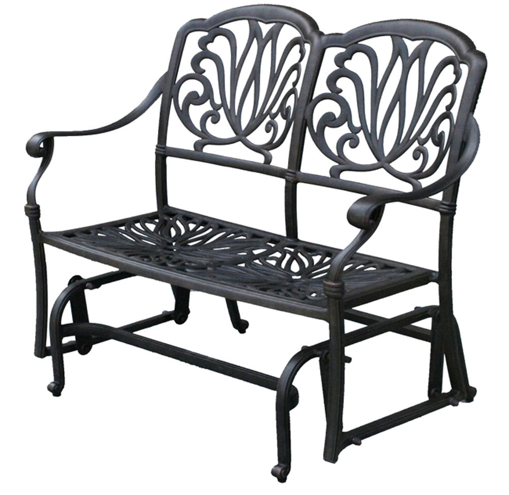 Aluminum Outdoor Double Glider Benches Within Most Up To Date Outdoor Glider Elisabeth Patio Cast Aluminum Bench Furniture Black Desert  Bronze (View 6 of 30)
