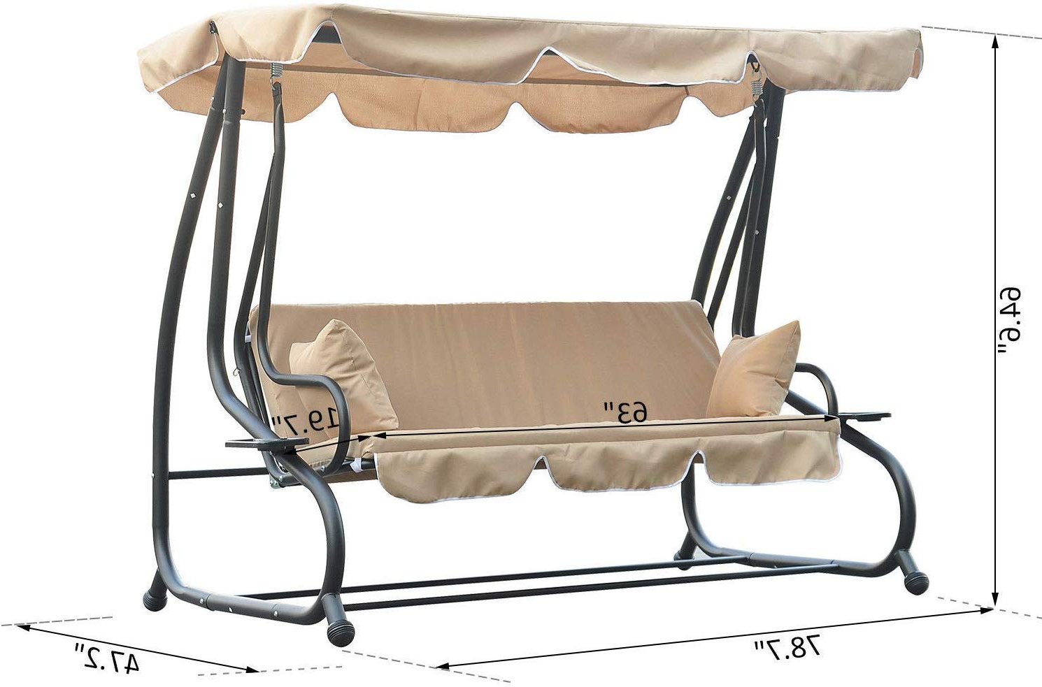 Amazon : Allblessings Patio 3 Seated Porch Swing Hammock In Preferred 2 Person Adjustable Tilt Canopy Patio Loveseat Porch Swings (View 8 of 30)
