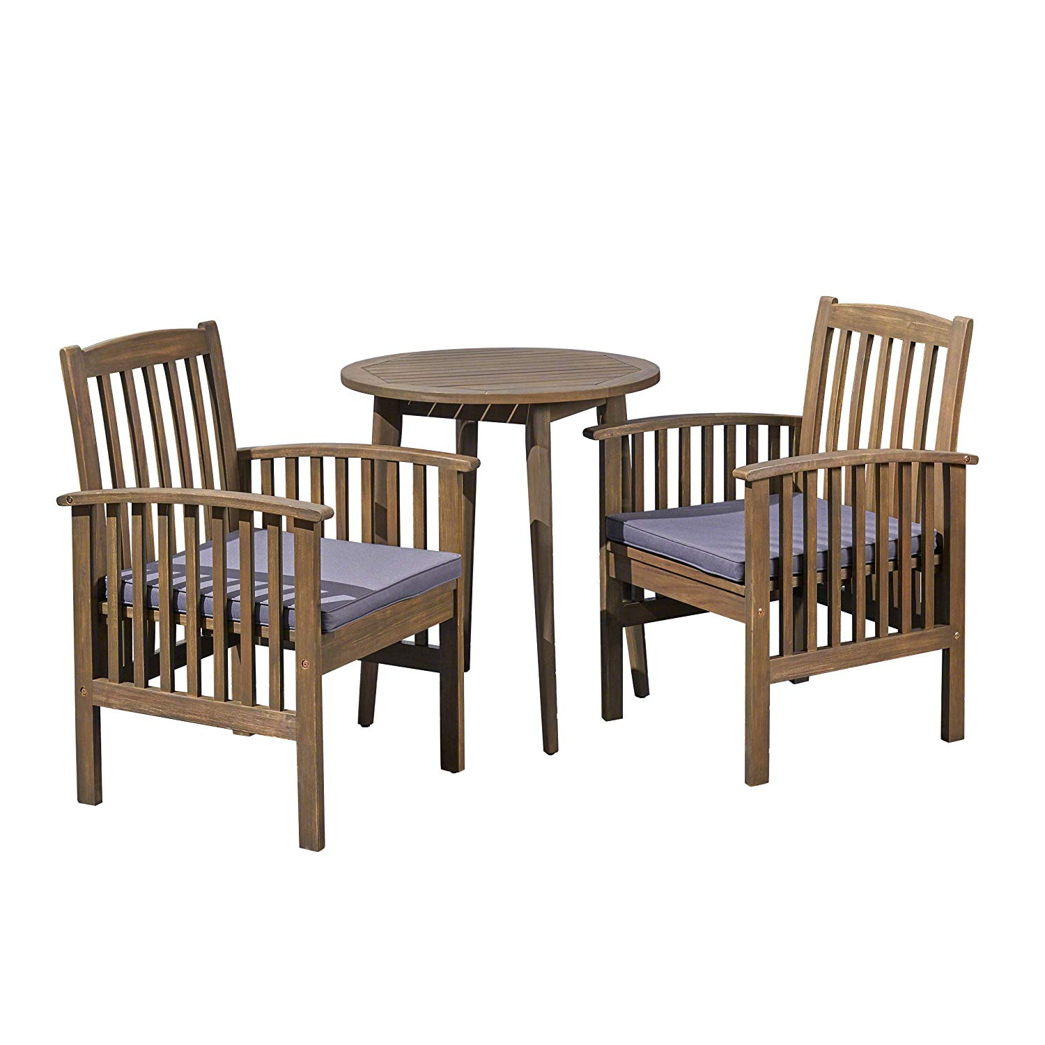 Amazon: Alma Acacia Patio Dining Set, 2 Seater Bistro Pertaining To Current Bistro Transitional 4 Seating Square Dining Tables (View 6 of 30)