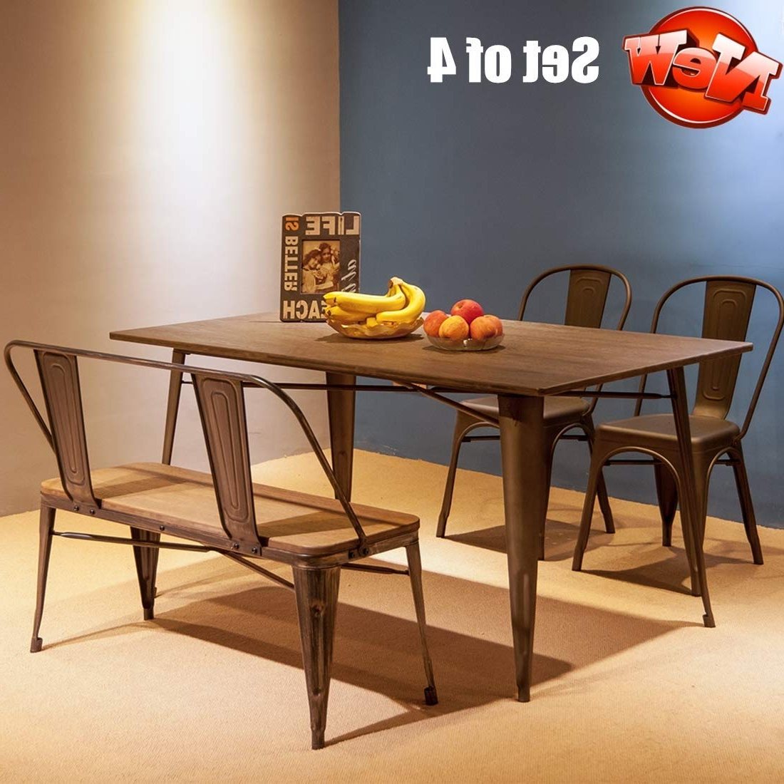 Amazon – Aooppec Enhanced Retro Style 4 Piece Set Dining Within Most Current Vintage Cream Frame And Espresso Bamboo Dining Tables (View 2 of 30)