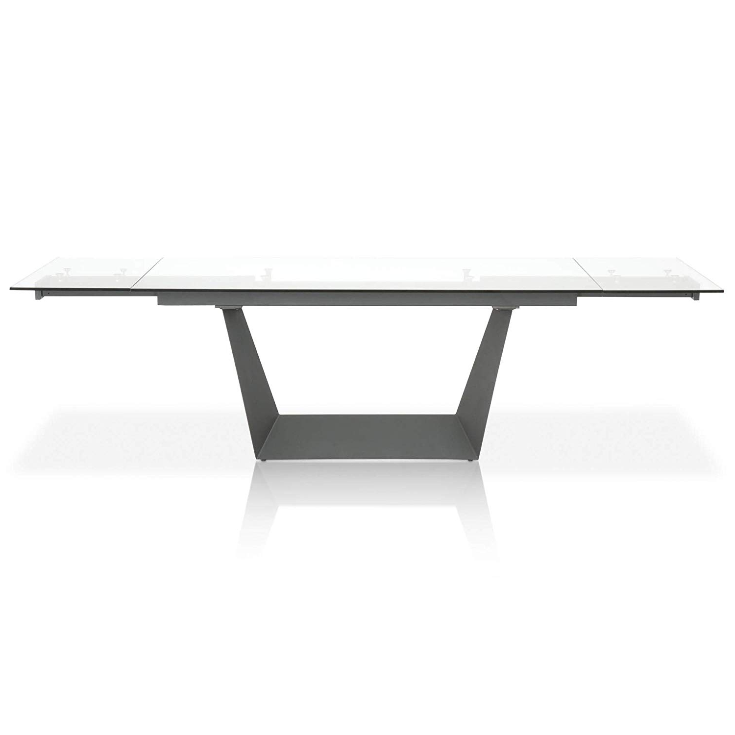 Featured Photo of Modern Glass Top Extension Dining Tables In Matte Black