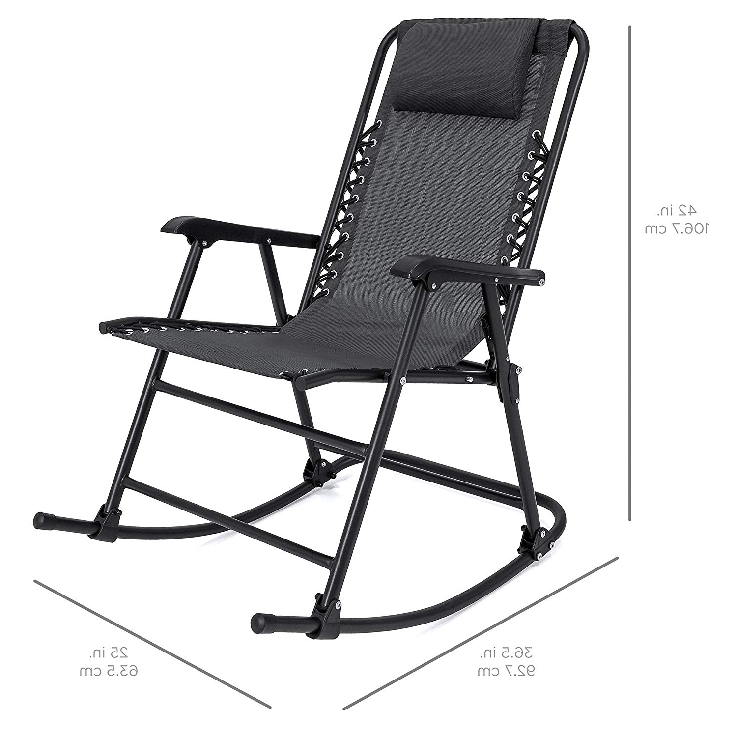Amazon: Black Folding Foldable Rocking Rocker Armrest Throughout Well Known Black Outdoor Durable Steel Frame Patio Swing Glider Bench Chairs (View 4 of 30)