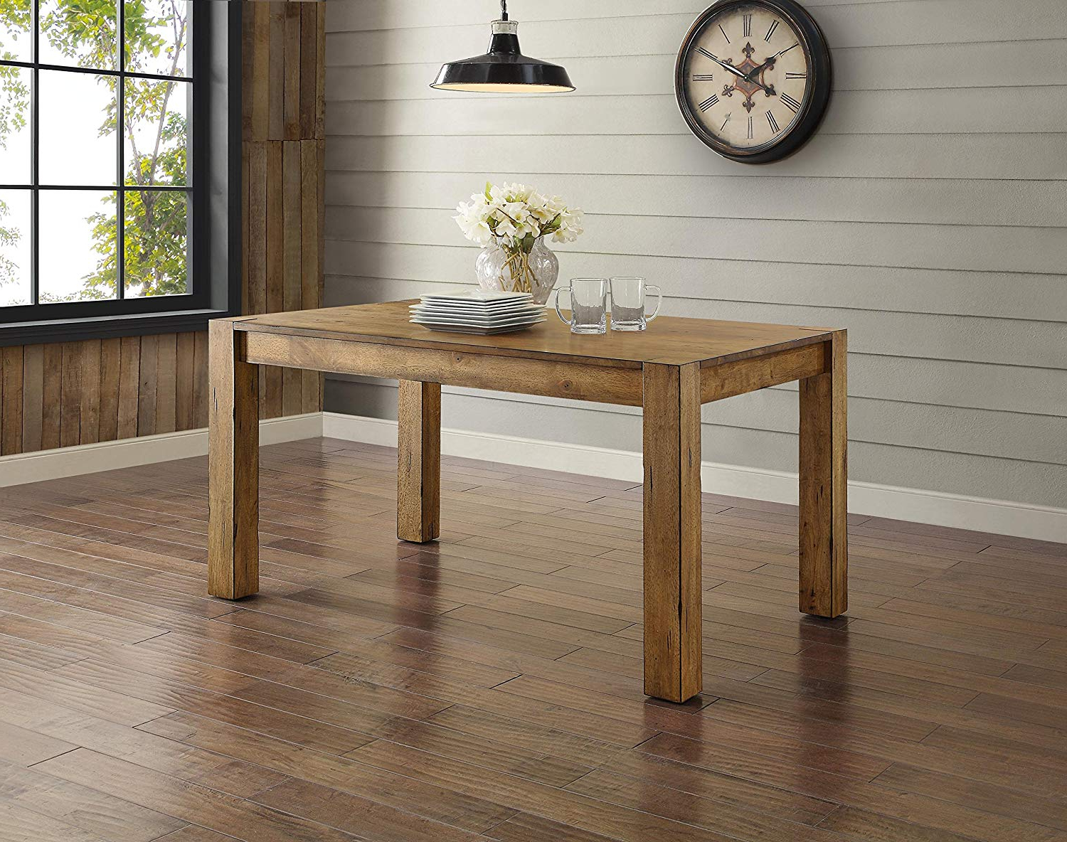 Amazon – Bryant Dining Table, Rustic Brown, Solid Wood Inside Current Acacia Dining Tables With Black Rocket Legs (View 8 of 30)