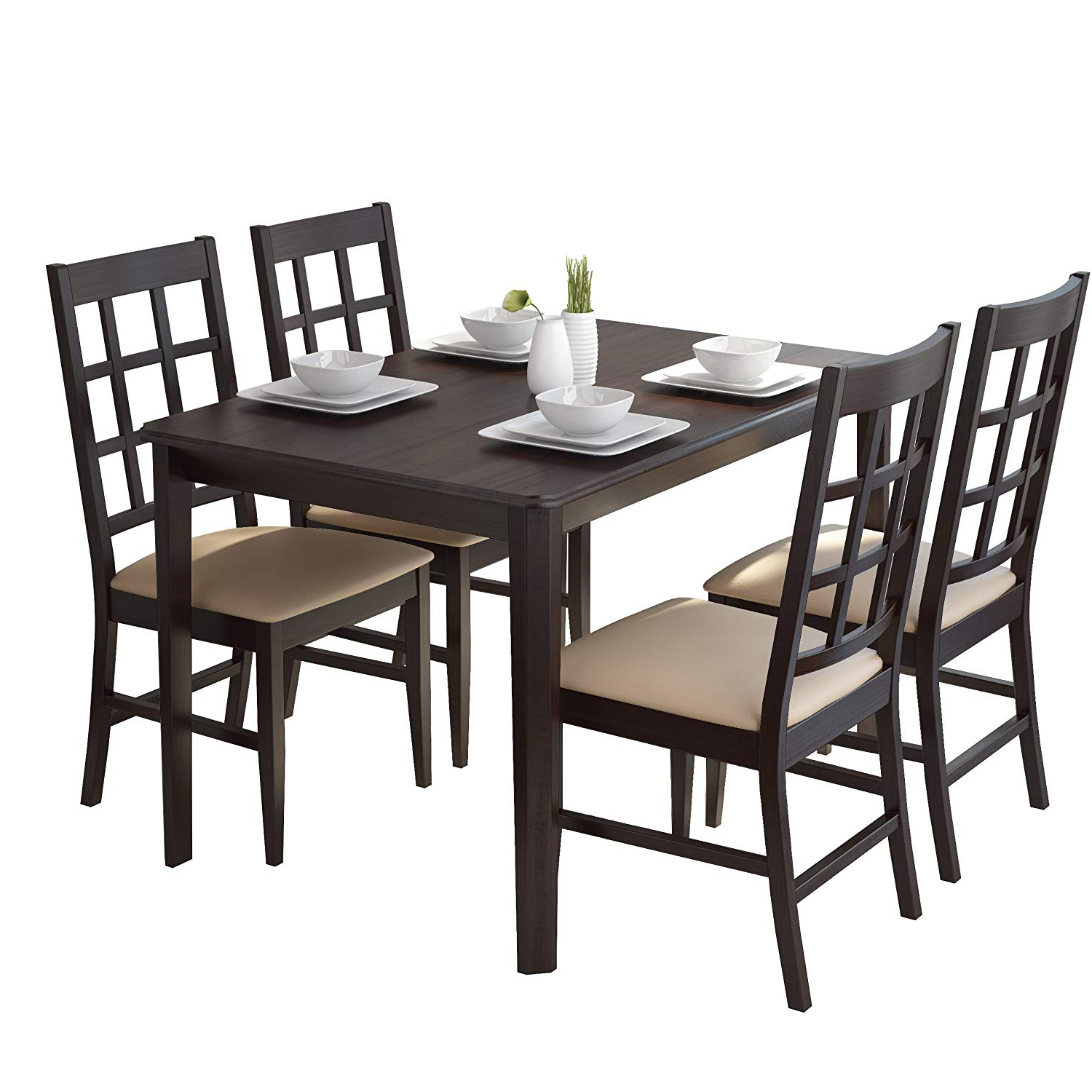 Amazon – Corliving Drg 695 Z Atwood Dining Set, Brown With Regard To Best And Newest Atwood Transitional Square Dining Tables (View 6 of 30)