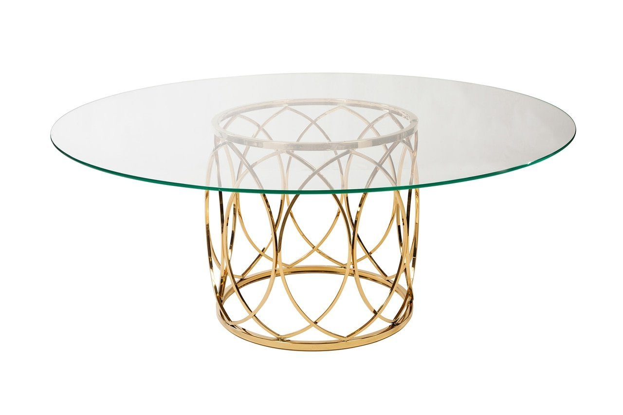 Amazon – Design Tree Home Jules Brushed Gold Glass Top For Most Recent Dining Tables With Brushed Gold Stainless Finish (View 11 of 30)