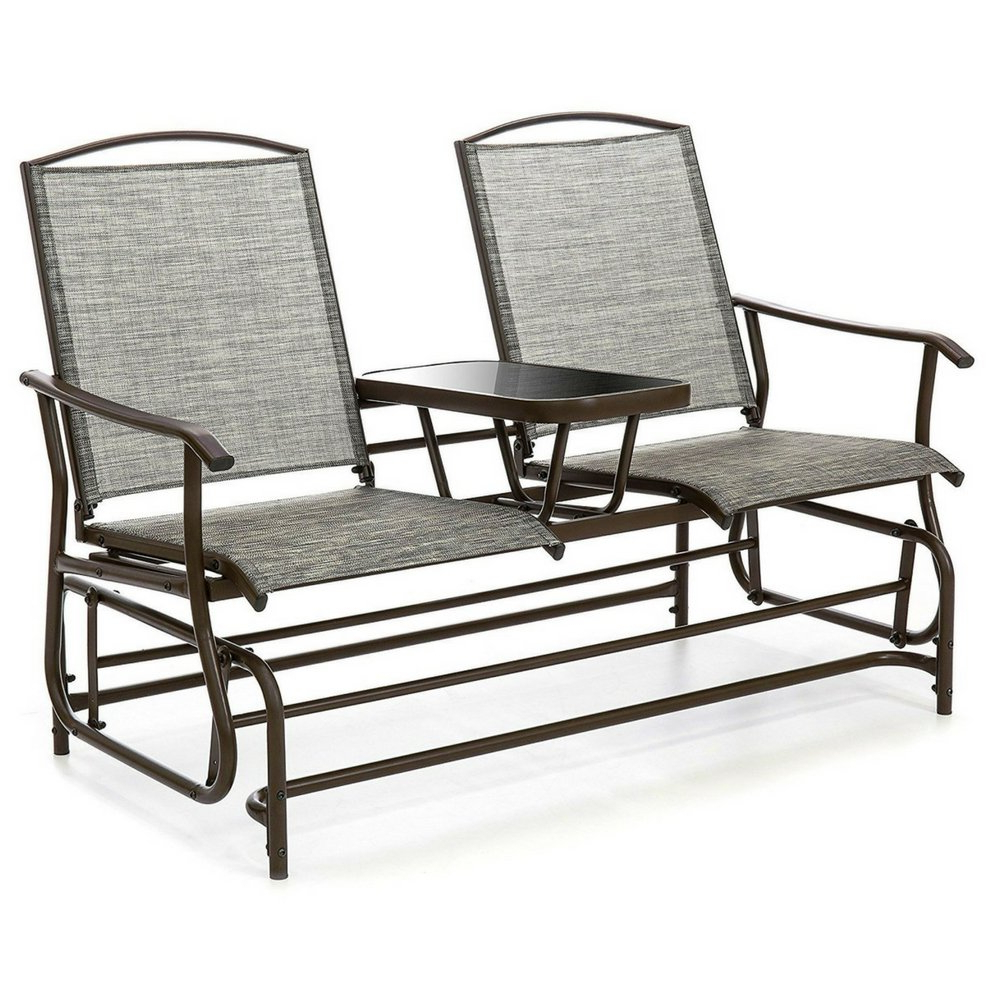 Amazon: Double Glider Chairs With Table Fabric And Glass In Fashionable Center Table Double Glider Benches (View 8 of 30)