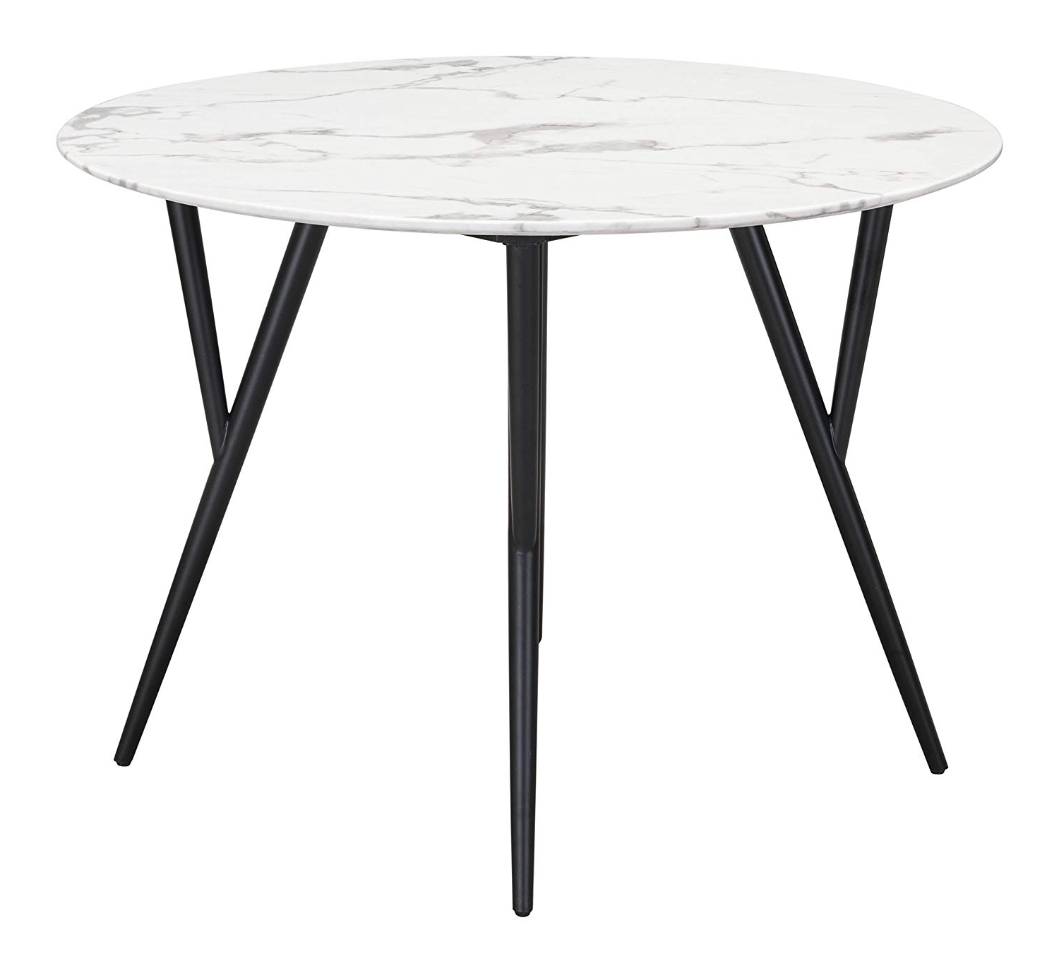 Amazon – Dzi Marcus Dining Table Stone & Matt Black – Tables Intended For Trendy Modern Glass Top Extension Dining Tables In Matte Black (View 5 of 30)