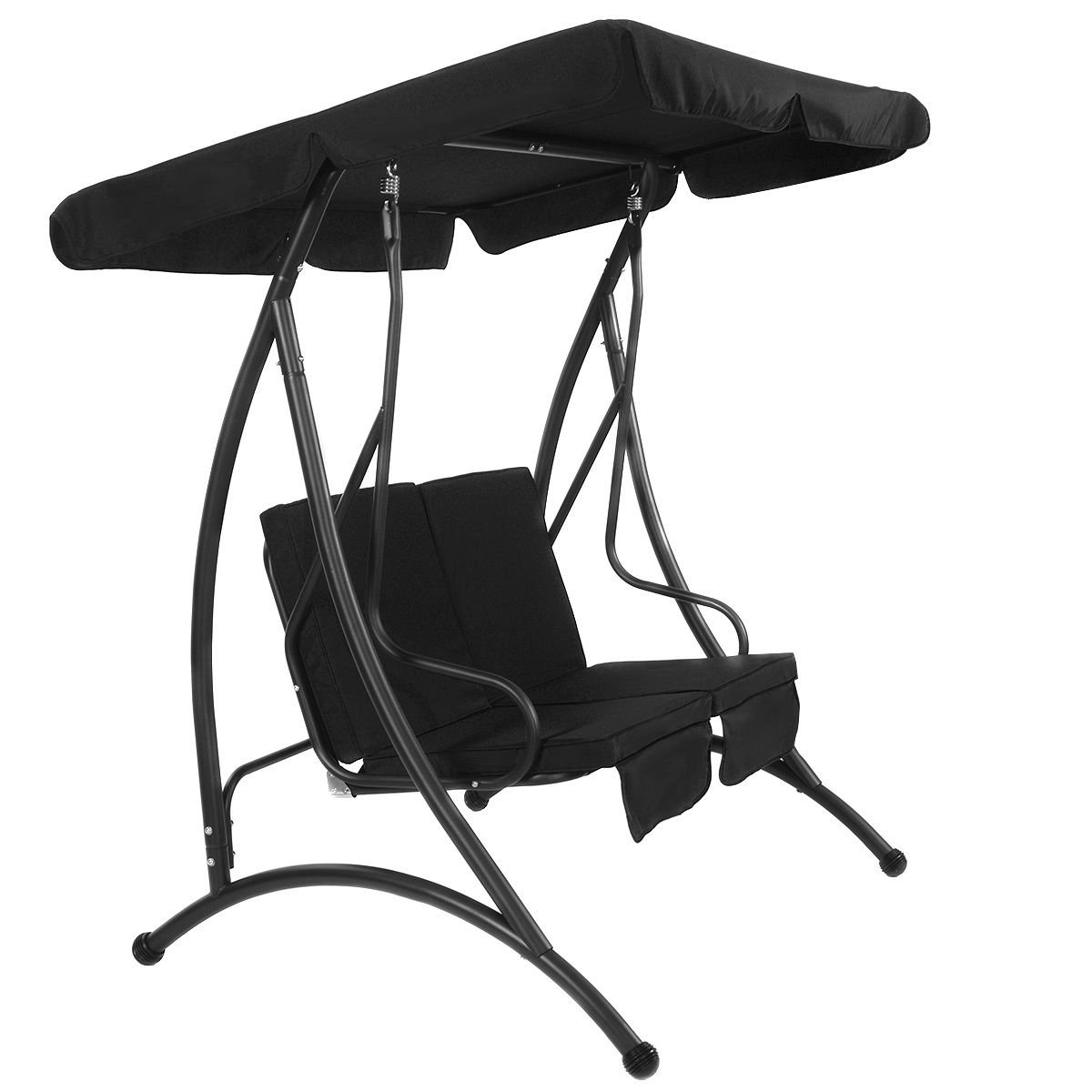 "Amazon : Fdinspiration Black 58"" Steel Frame 2 Seat Inside Most Current Black Outdoor Durable Steel Frame Patio Swing Glider Bench Chairs (View 3 of 30)"