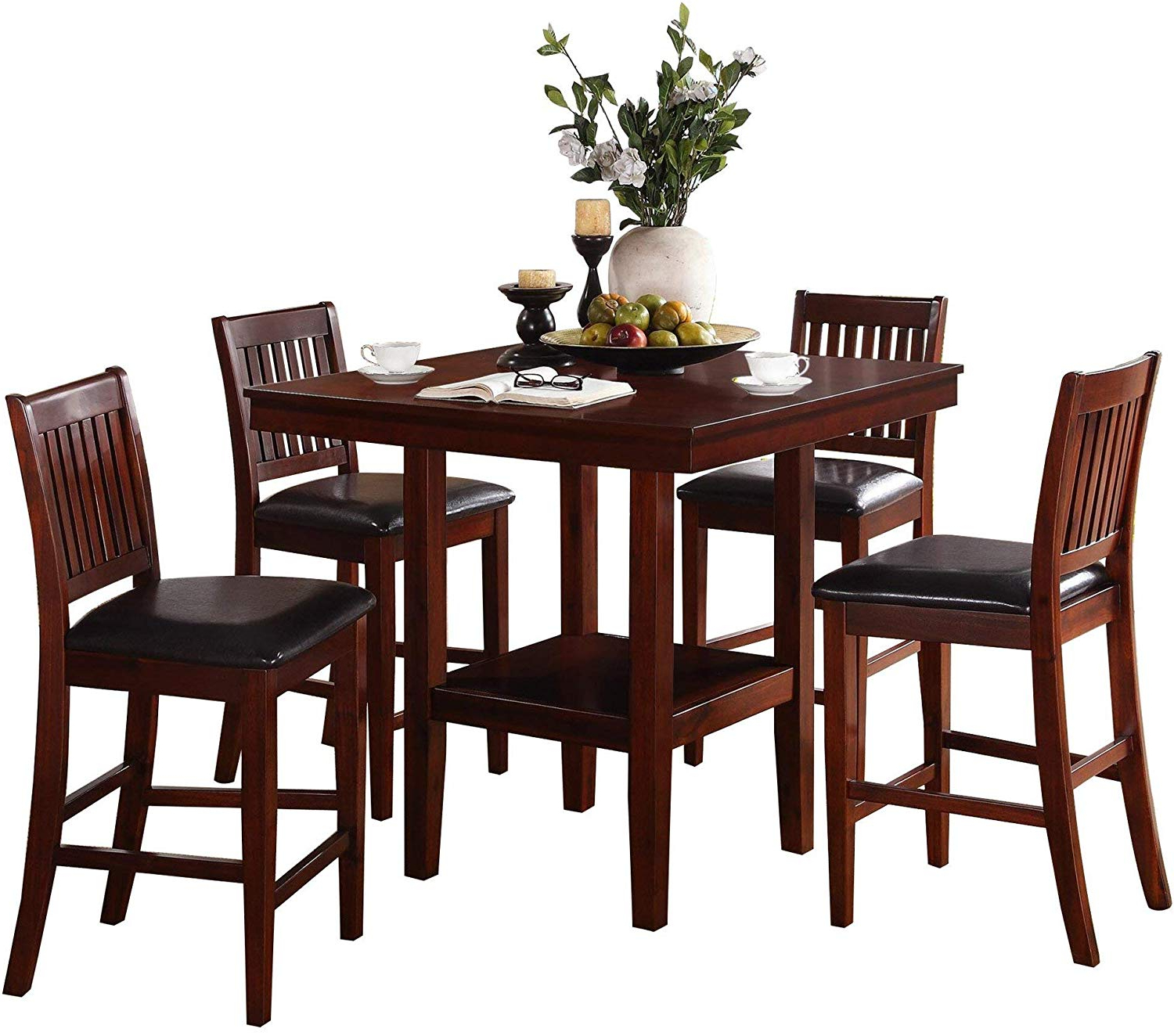 Amazon – Gainer Square 5Pc Counter Height Dining Set In Recent Transitional 4 Seating Square Casual Dining Tables (View 3 of 30)