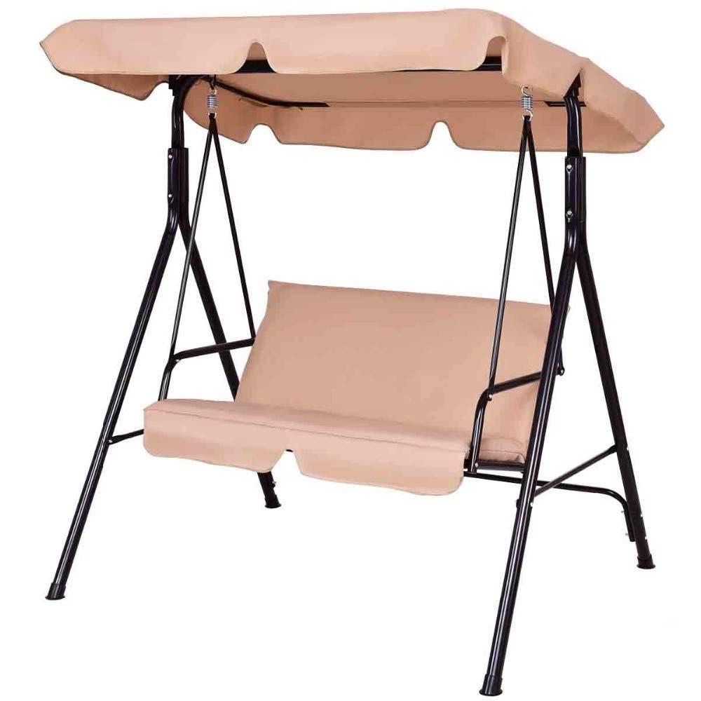 Amazon: Goplus Loveseat Patio Canopy Swing Glider Throughout Famous 3 Seats Patio Canopy Swing Gliders Hammock Cushioned Steel Frame (View 9 of 30)