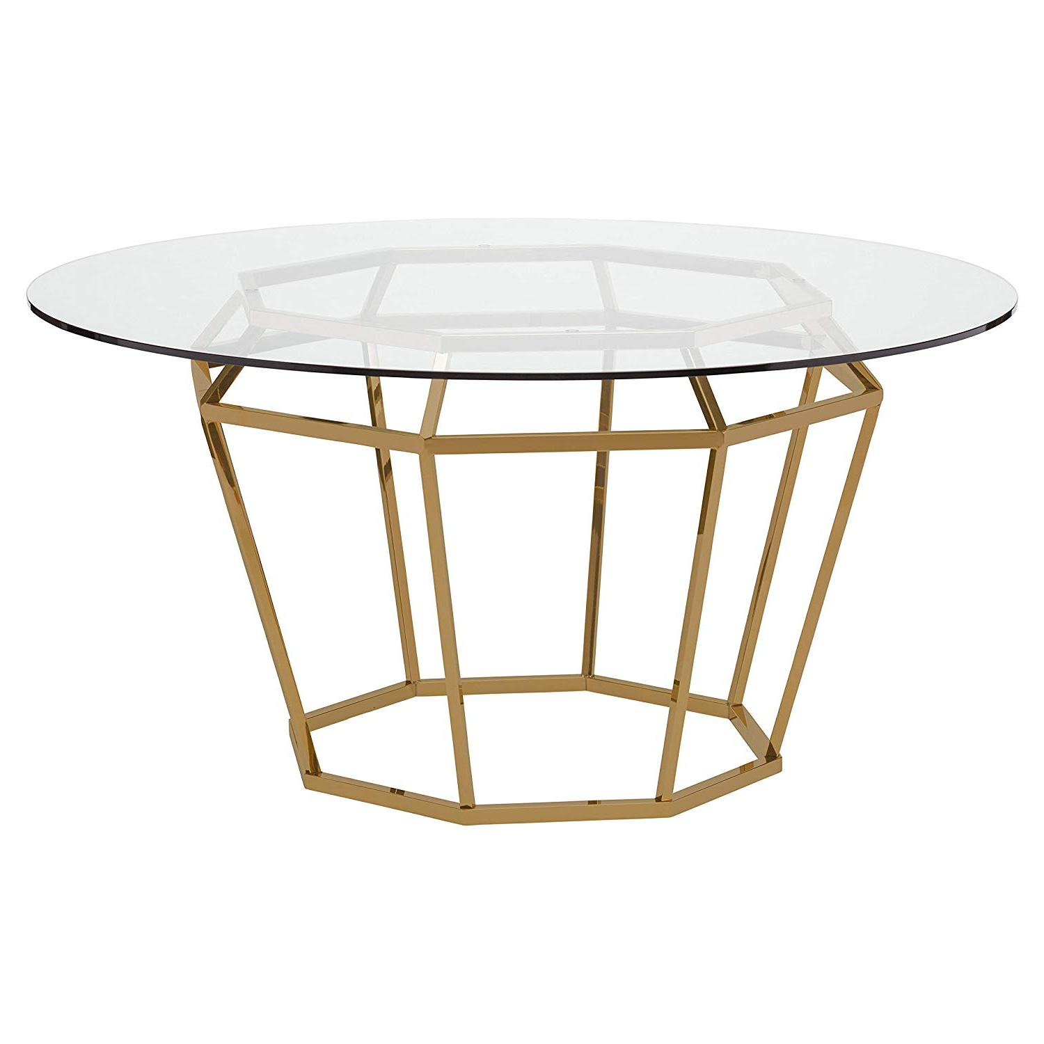 Amazon – Kathy Kuo Home Marilyn Modern Classic Glass Throughout Widely Used Dining Tables With Brushed Gold Stainless Finish (View 19 of 30)