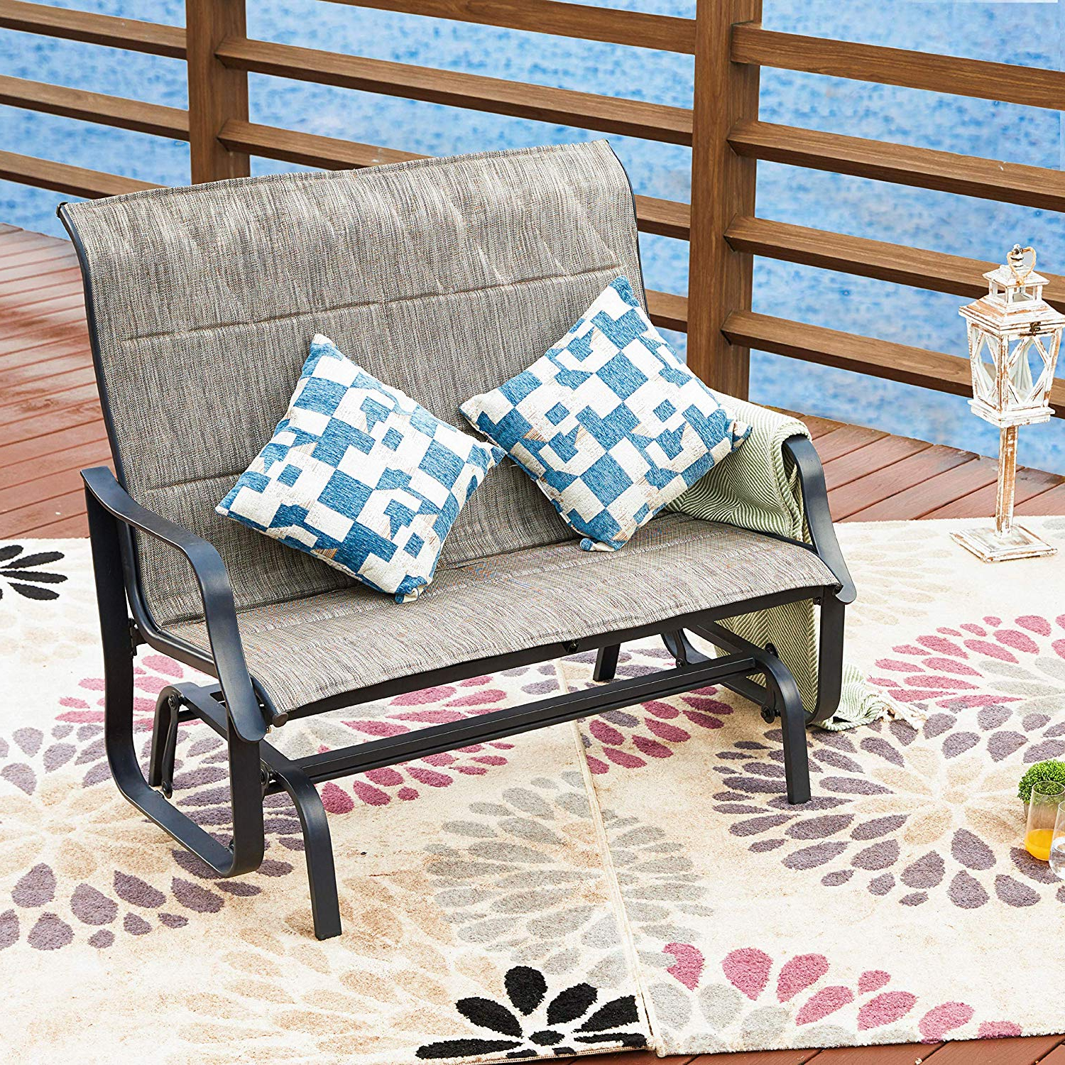 Amazon: Lokatse Home Patio Outdoor Glider Seat Bench 2 Within Preferred 2 Person Loveseat Chair Patio Porch Swings With Rocker (View 13 of 30)
