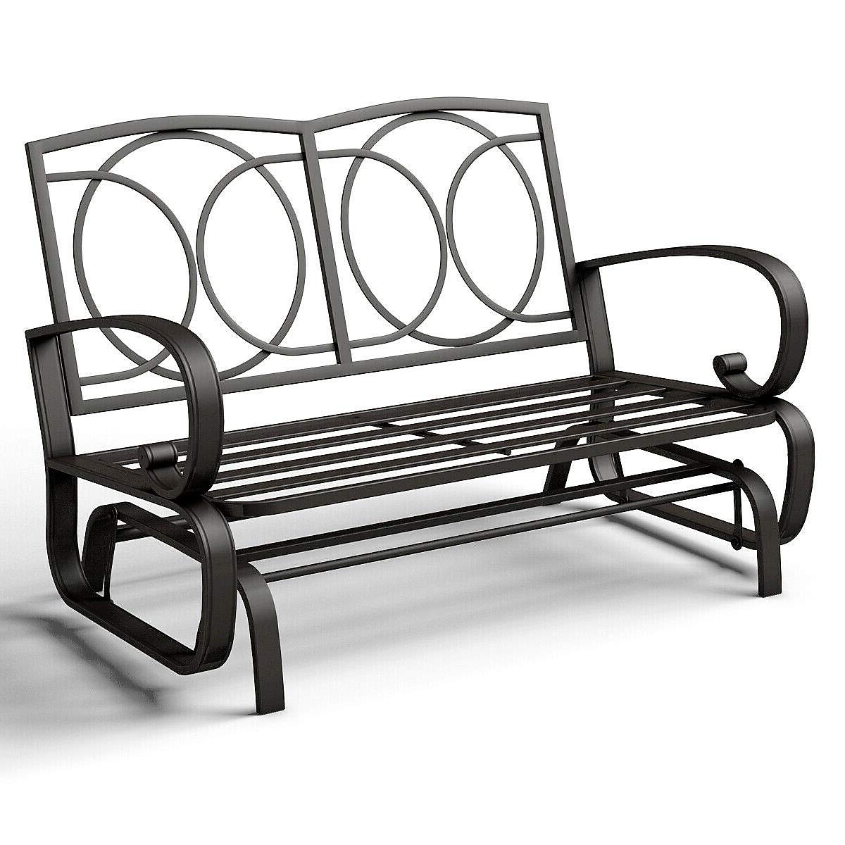 Amazon : Lucky Gift – Outdoor Patio Cushioned Rocking Regarding Newest Outdoor Patio Swing Porch Rocker Glider Benches Loveseat Garden Seat Steel (View 14 of 30)