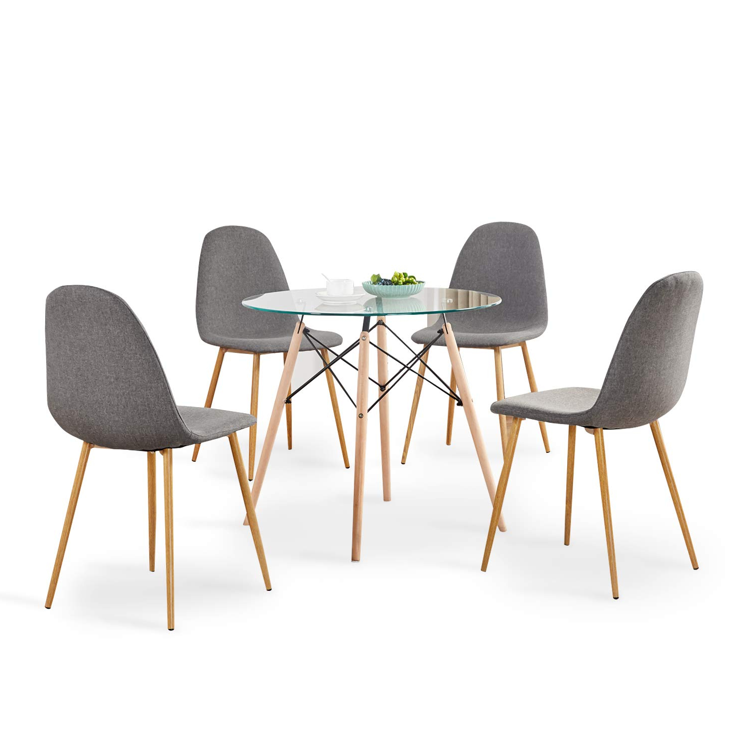 Amazon – Mcombo 5pcs Dining Table Set Round Glass Table Throughout Fashionable Modern Round Glass Top Dining Tables (View 23 of 30)