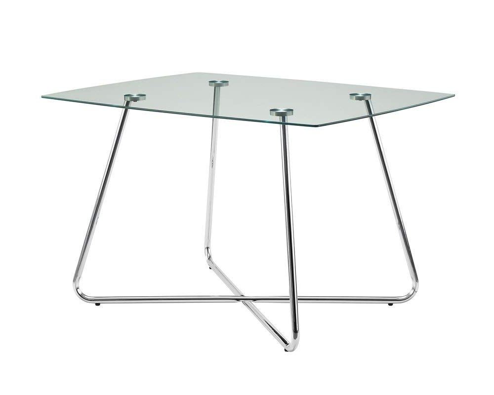 Amazon – Metal Base Dining Table With Rounded Edges For Most Recent Chrome Contemporary Square Casual Dining Tables (View 14 of 30)