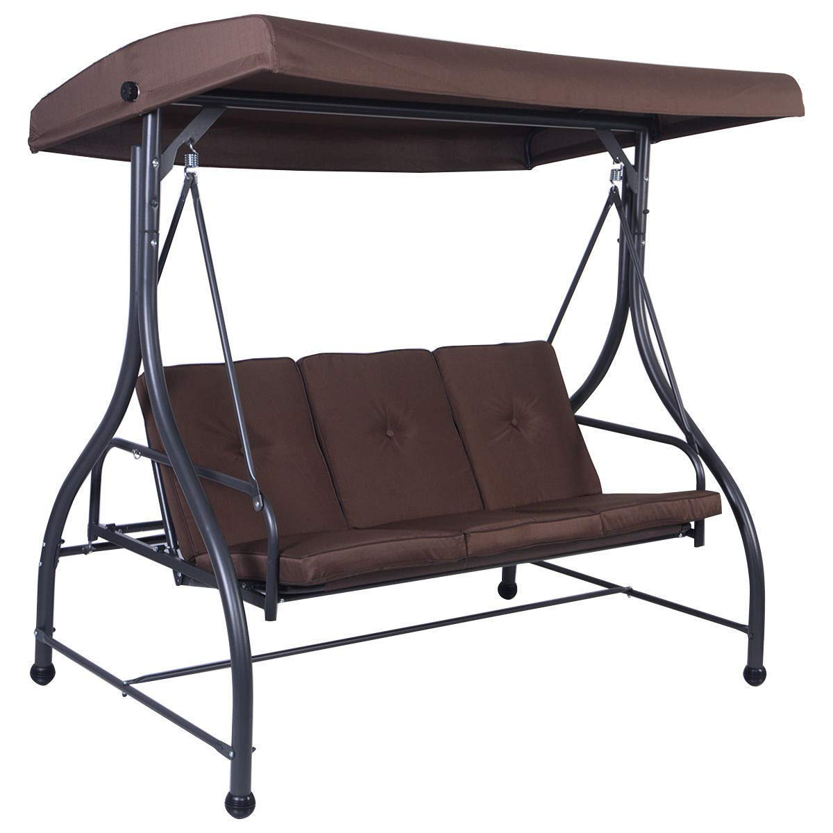 "Amazon : Nanapluz 73"" Brown Convertible 3 Person Seating Inside 2020 3 Person Brown Steel Outdoor Swings (View 7 of 30)"
