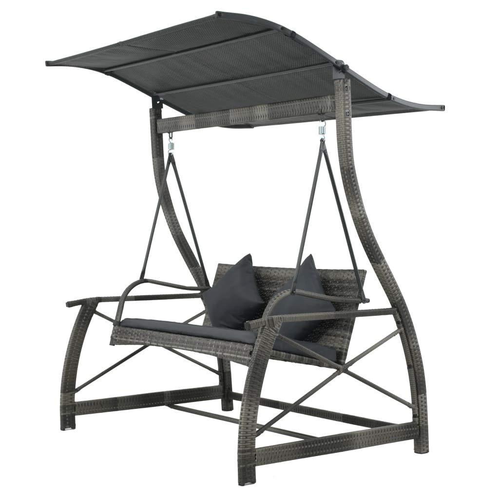 Amazon : Oeyeo Garden Swing Chair Poly Rattan Gray (View 18 of 31)