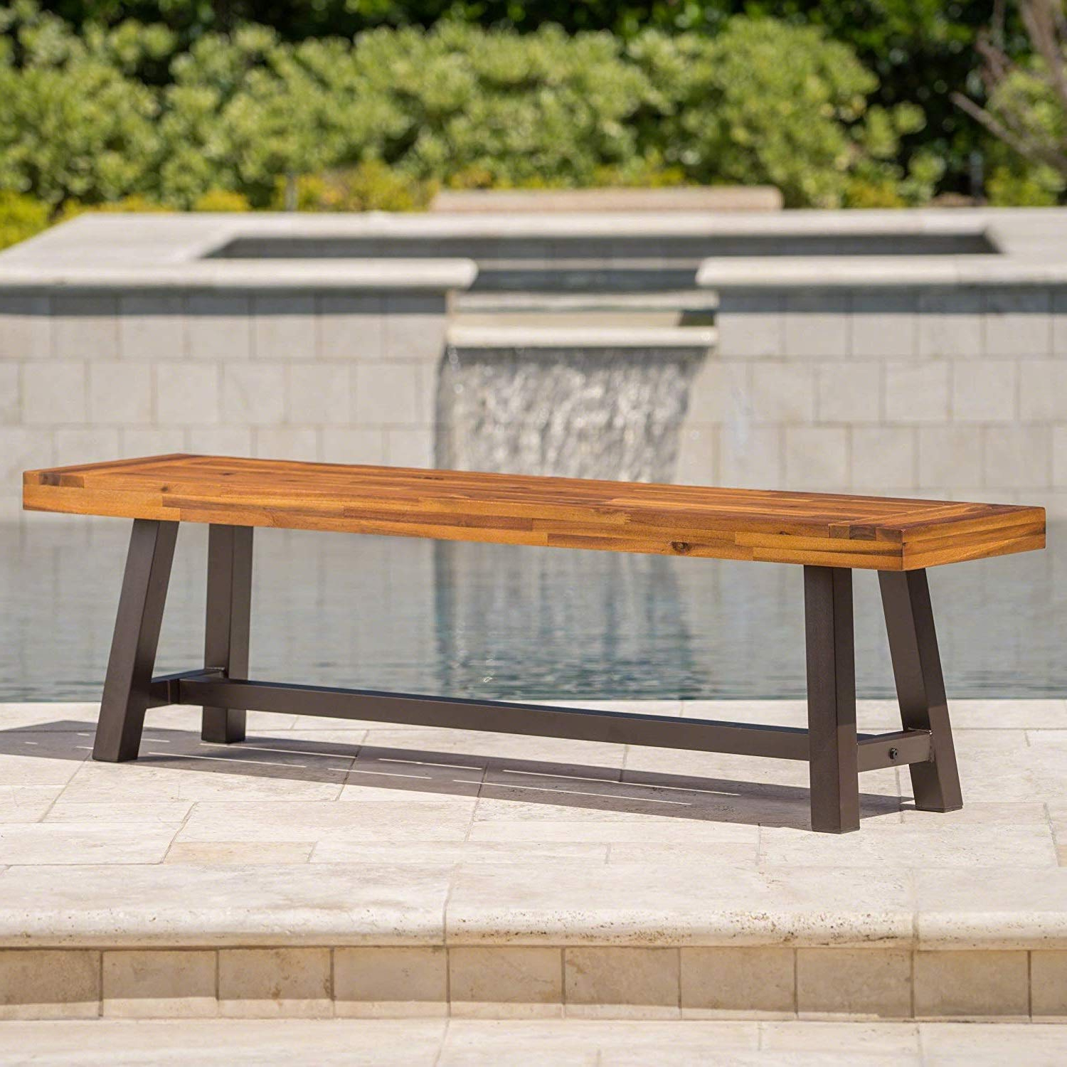 Amazon : Rustic Wood Bench Outdoor Acacia Seat Metal For 2020 Wood Garden Benches (View 1 of 30)