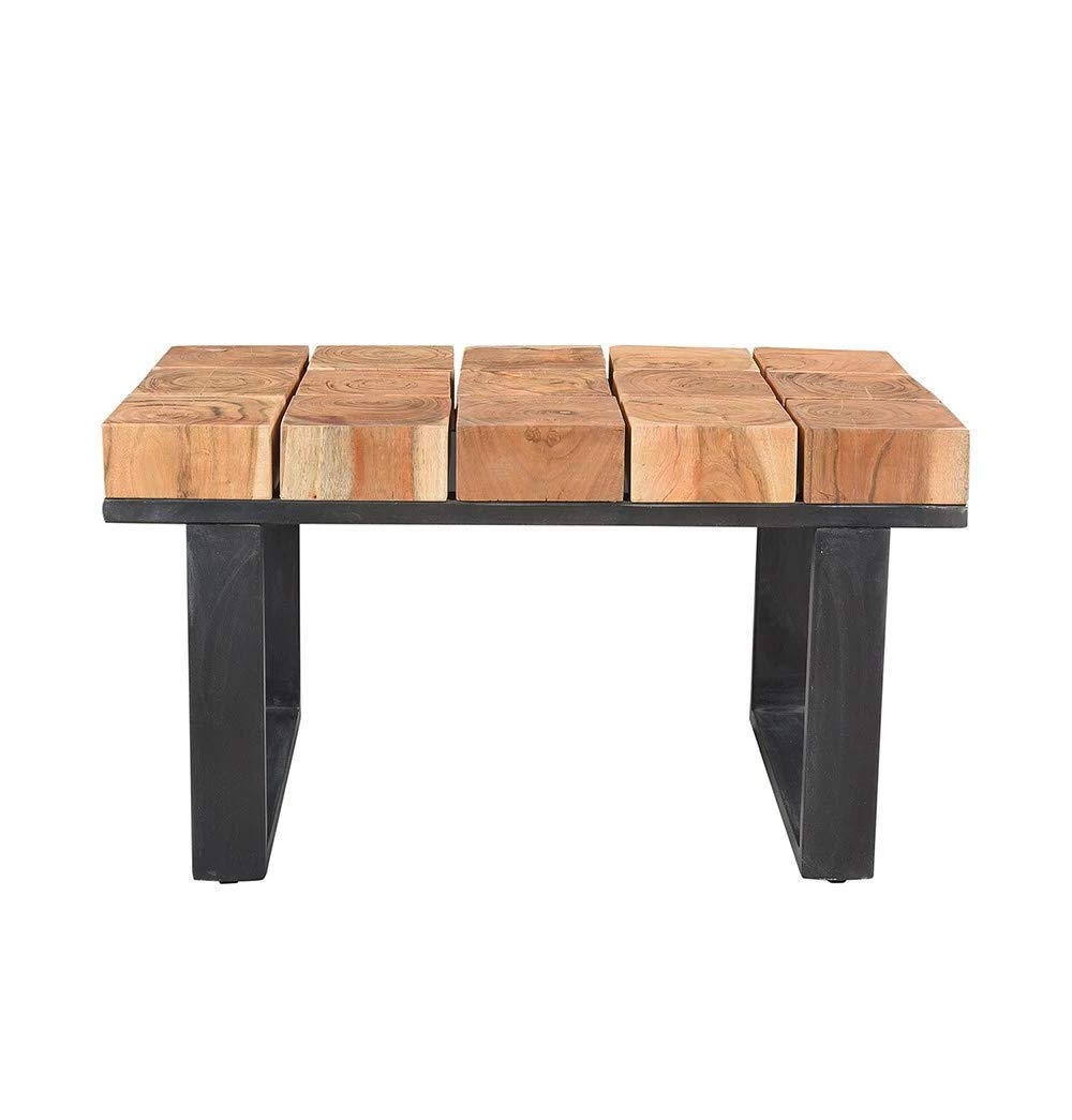 Amazon: Solid Acacia Wood Coffee Table With Iron Legs Regarding Latest Acacia Dining Tables With Black Rocket Legs (View 9 of 30)