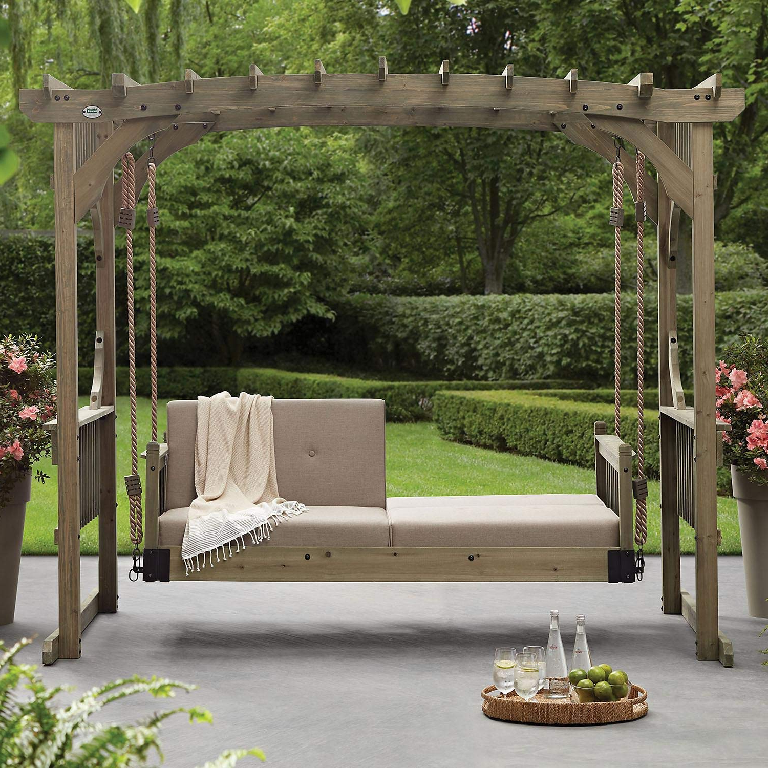 Amazon: Sunbrella Luxury Patio Hanging Swing Lounger Throughout Most Recent 3 Seat Pergola Swings (View 28 of 30)