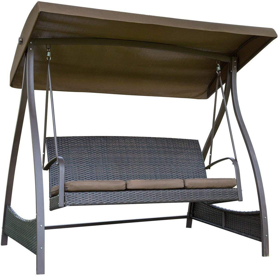 Amazon : Sunlife Porch Swing 3 Seat Lawn Glider Hammock Intended For Most Recent Outdoor Swing Glider Chairs With Powder Coated Steel Frame (View 14 of 30)