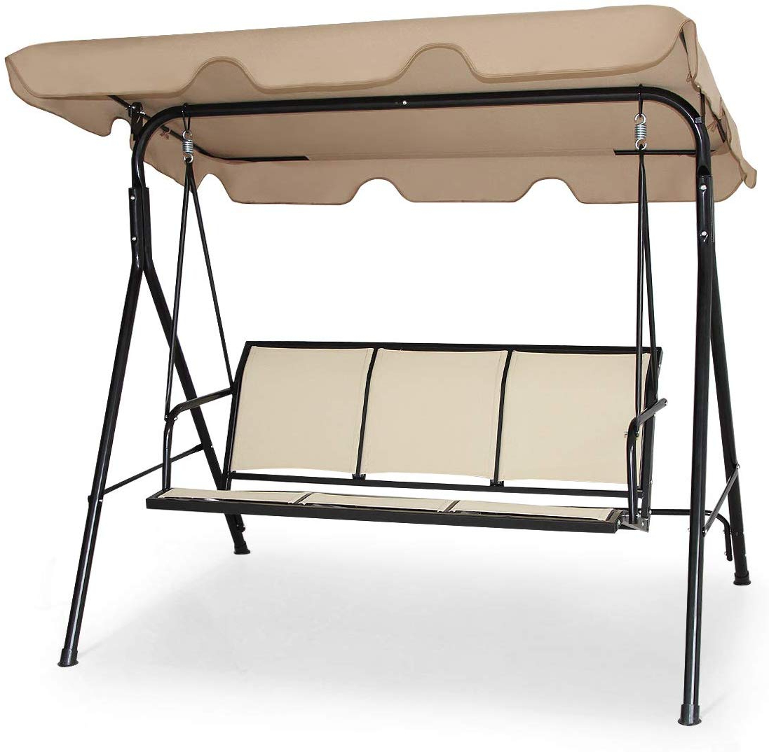Amazon : Tangkula 3 Person Patio Outdoor Swing Hammock Inside Best And Newest 3 Person Brown Steel Outdoor Swings (View 3 of 30)