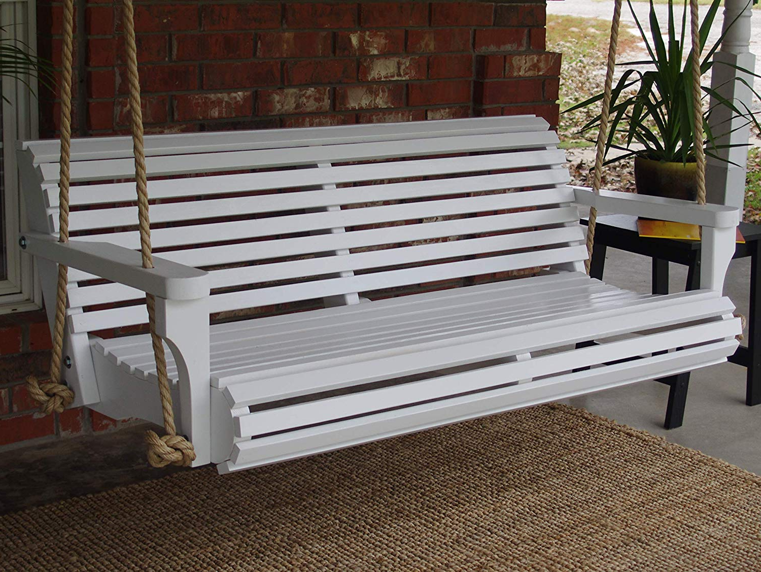Amazon : Three Man Painted Contoured Classic Porch Swing For Famous Contoured Classic Porch Swings (View 5 of 30)