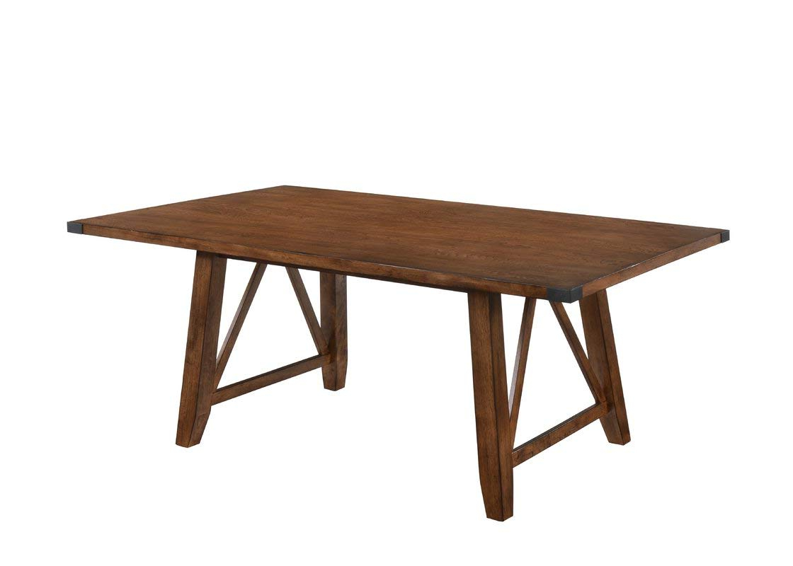 Amazon – Wood Dining Table With Decorative Strap Buckle With Regard To Most Up To Date Large Rustic Look Dining Tables (View 24 of 30)