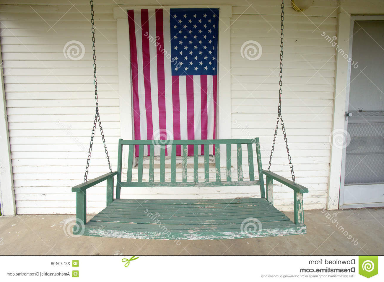 American Flag Porch Swings For Well Known Old Swing On Porch Stock Photo (View 9 of 30)