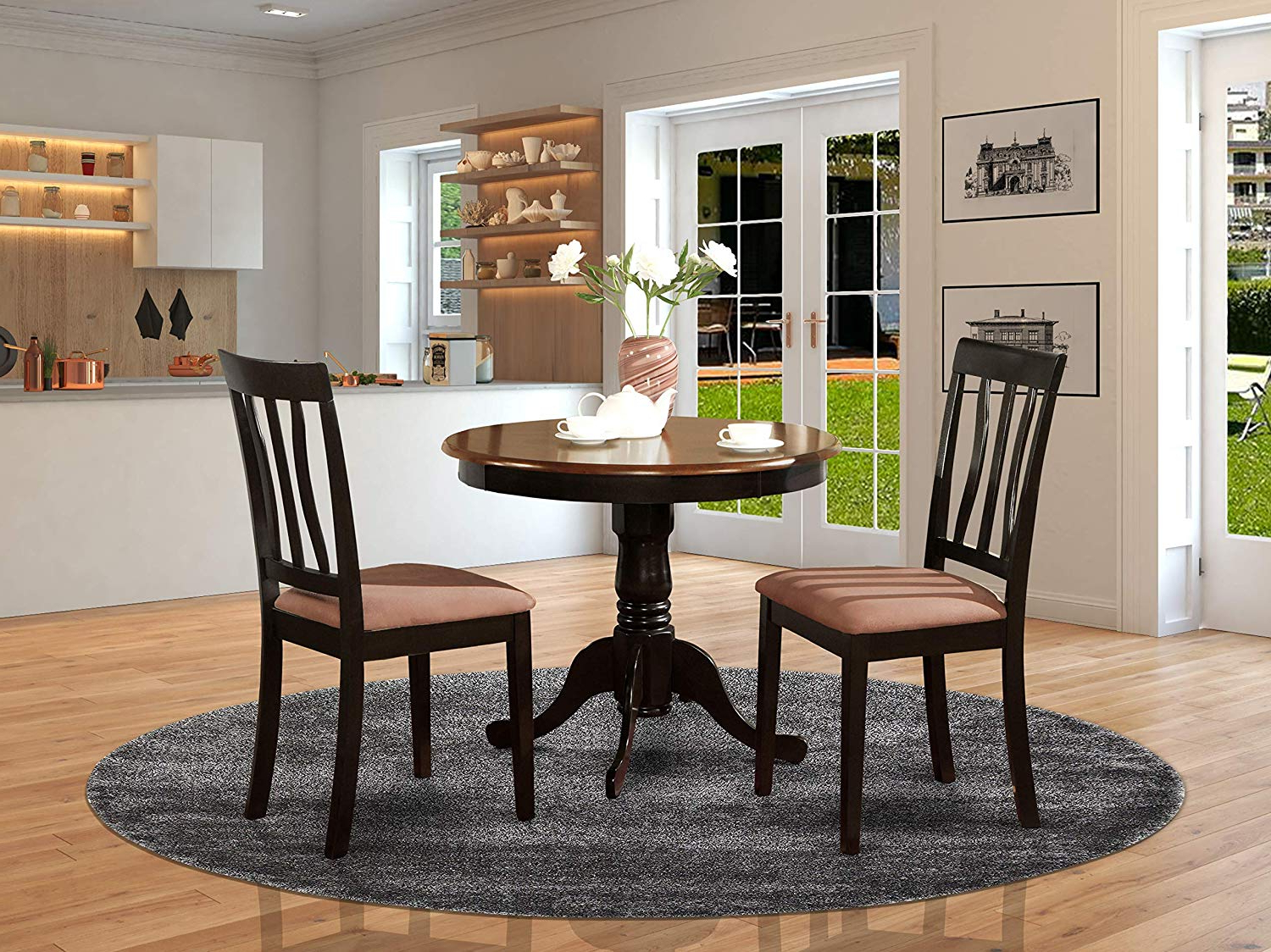 Anti3 Blk Lc 3 Pc Kitchen Table Set Breakfast Nook With 2 Kitchen Dining Chairs Inside Most Recently Released Antique Black Wood Kitchen Dining Tables (View 27 of 30)