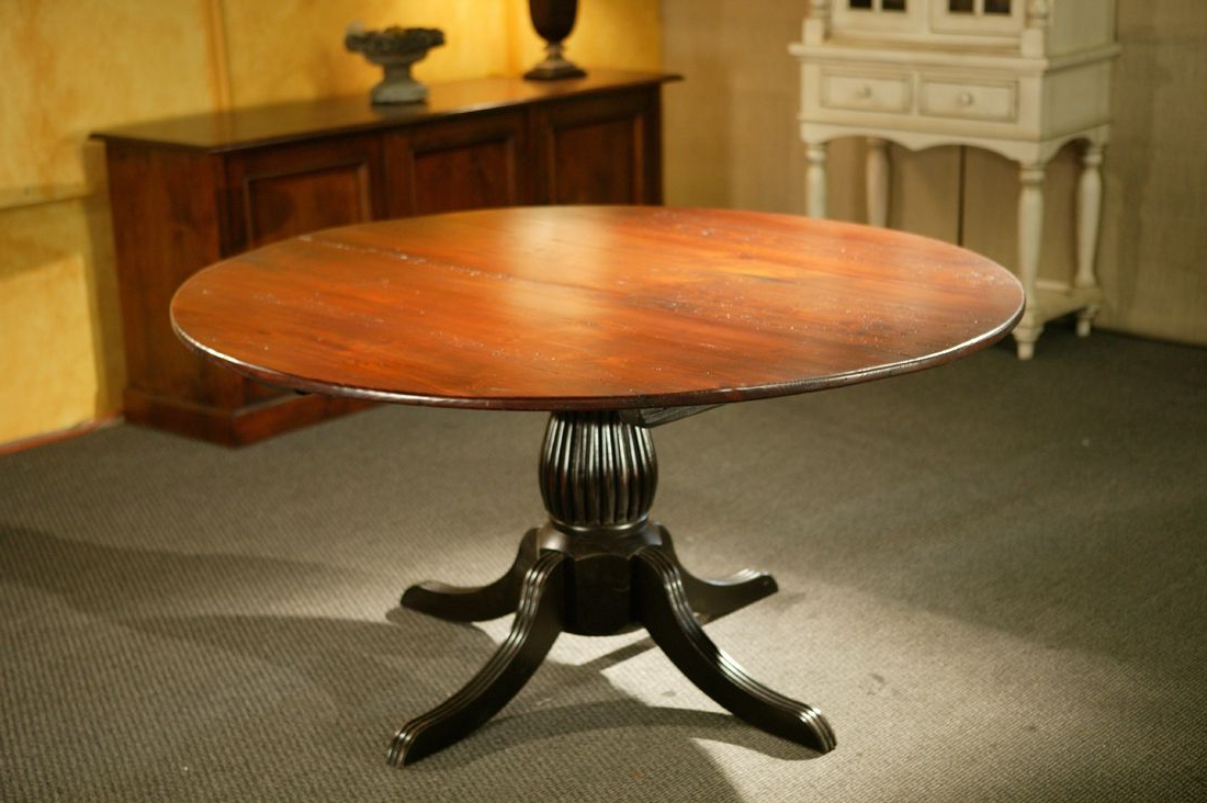 Antique Black Wood Kitchen Dining Tables Pertaining To 2018 Custom Round Kitchen Tables With Black Fluted Pedestal (View 11 of 30)