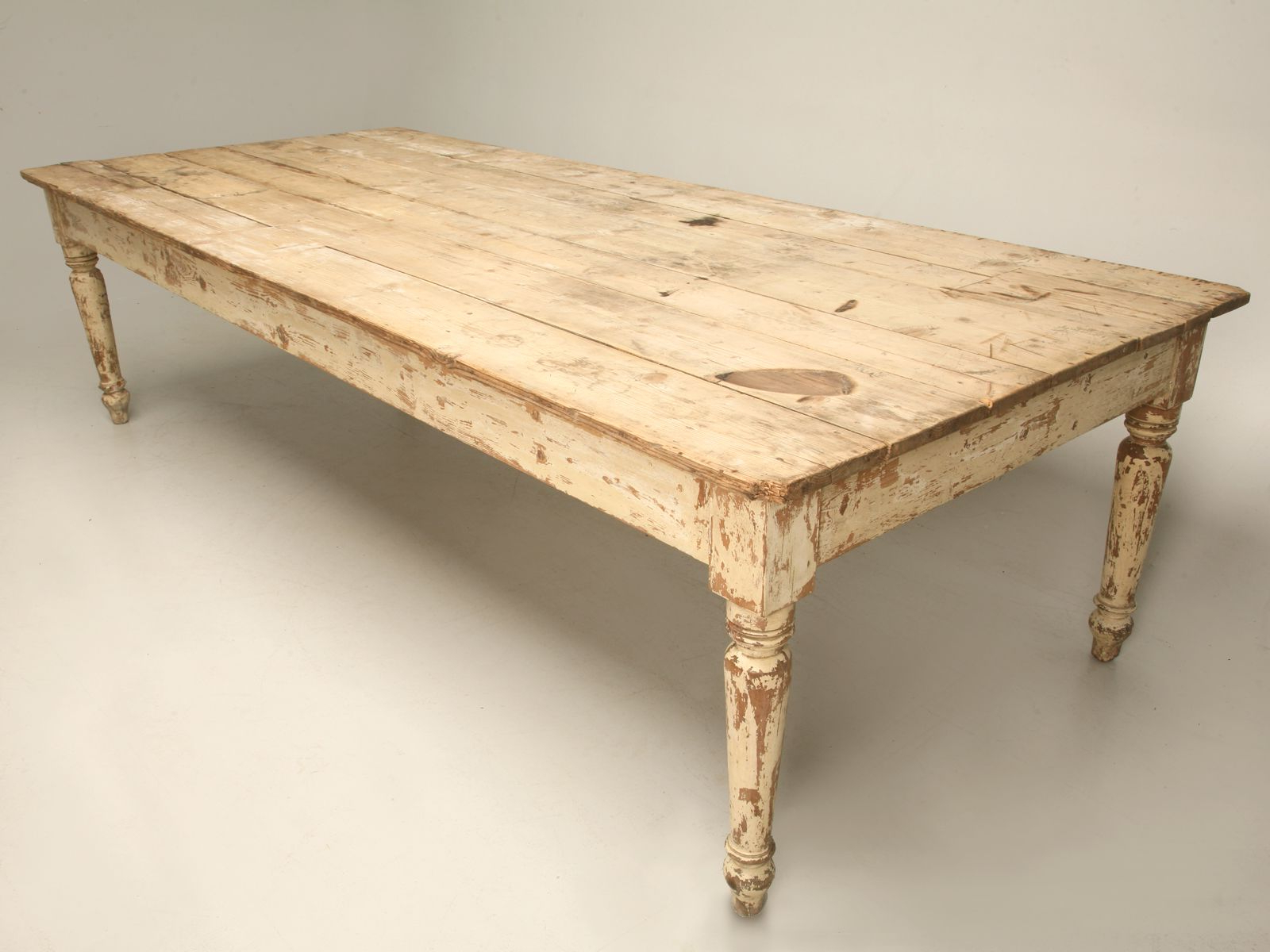 Antique Scrubbed Pine Farm Table (View 6 of 30)